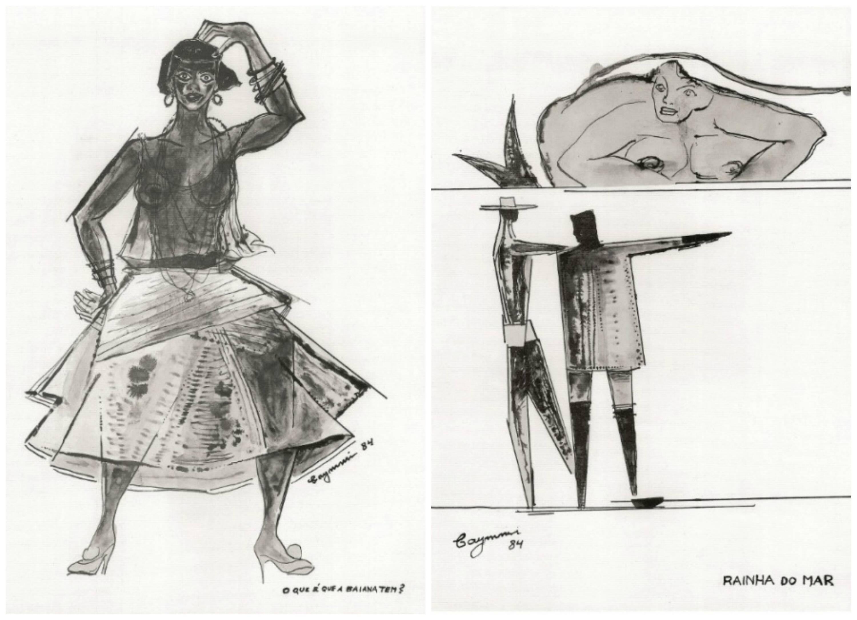 Desenhos de Dorival Caymmi inspirados em sua própria obra musical: o compositor aprendeu técnicas de pintura com seus amigos artistas plásticos/ Fotos: divulgação