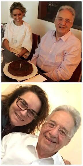 Aniversário de Fernando Henrique Cardoso: na foto acima, com a mulher, Patricia Kundrát; nesta foto, com a nora, Evangelina Seiler