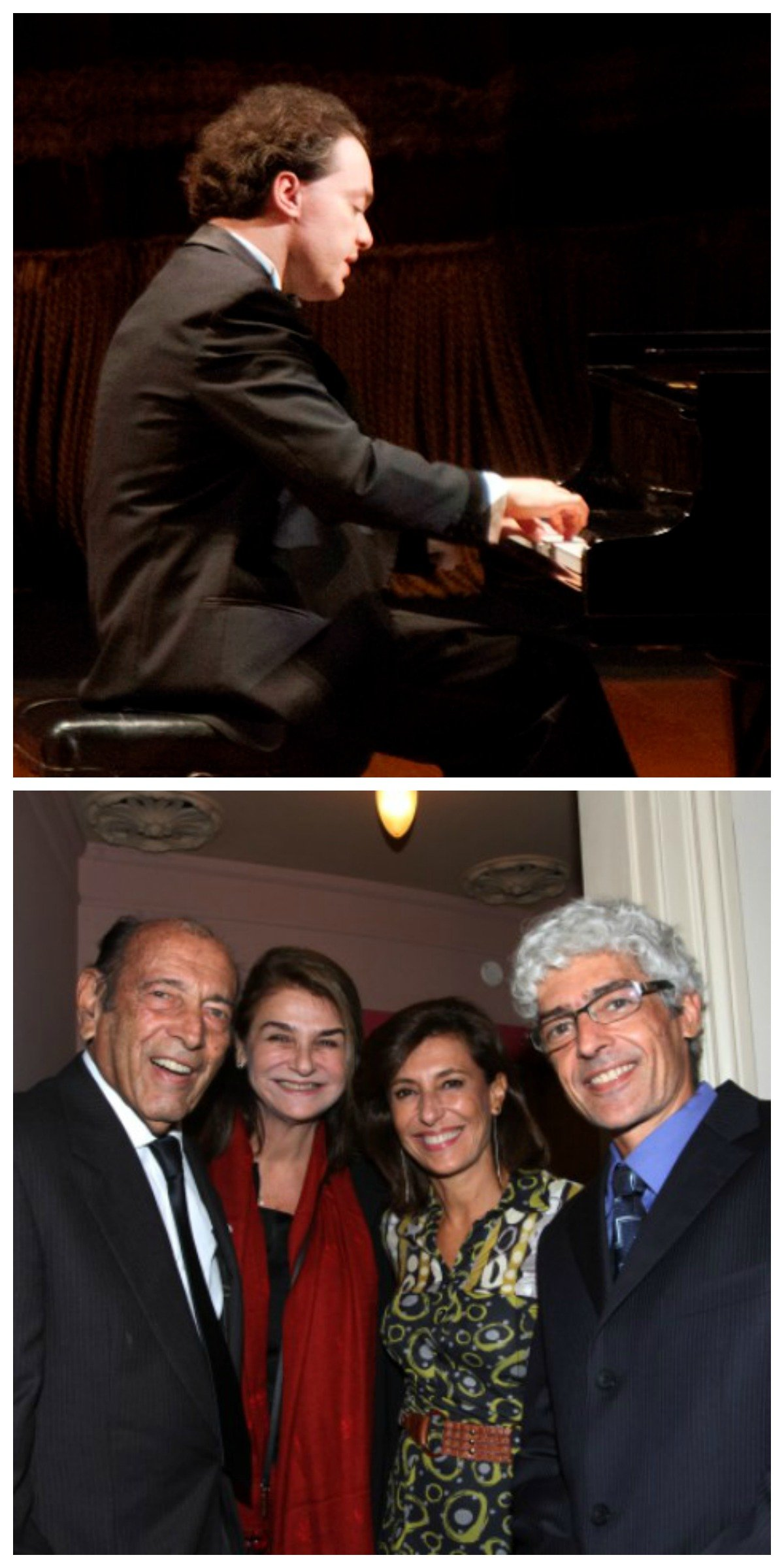 No alto, o pianista russo Evgeny Kissin; acima,  Israel e Léa Klabin, Maria Sílvia Bastos Marques e Steffen Dauelsberg/ Fotos: Eny Miranda/Cia da Foto