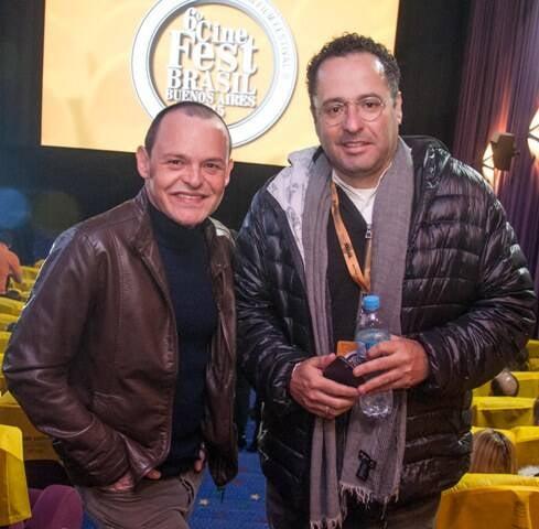 """Nachtergaele e o diretor de """"Trinta"""", Paulo Machline, no Cine Fest Brasil-Buenos Aires/ Foto: Timo Gorostiaga"""