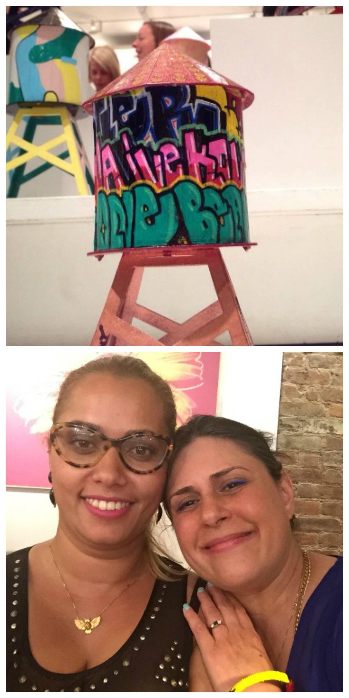 No alto, o grafite de Panmela na miniatura de caixa d'água; acima, a artista e a curadora Claw Money/ Foto: divulgação