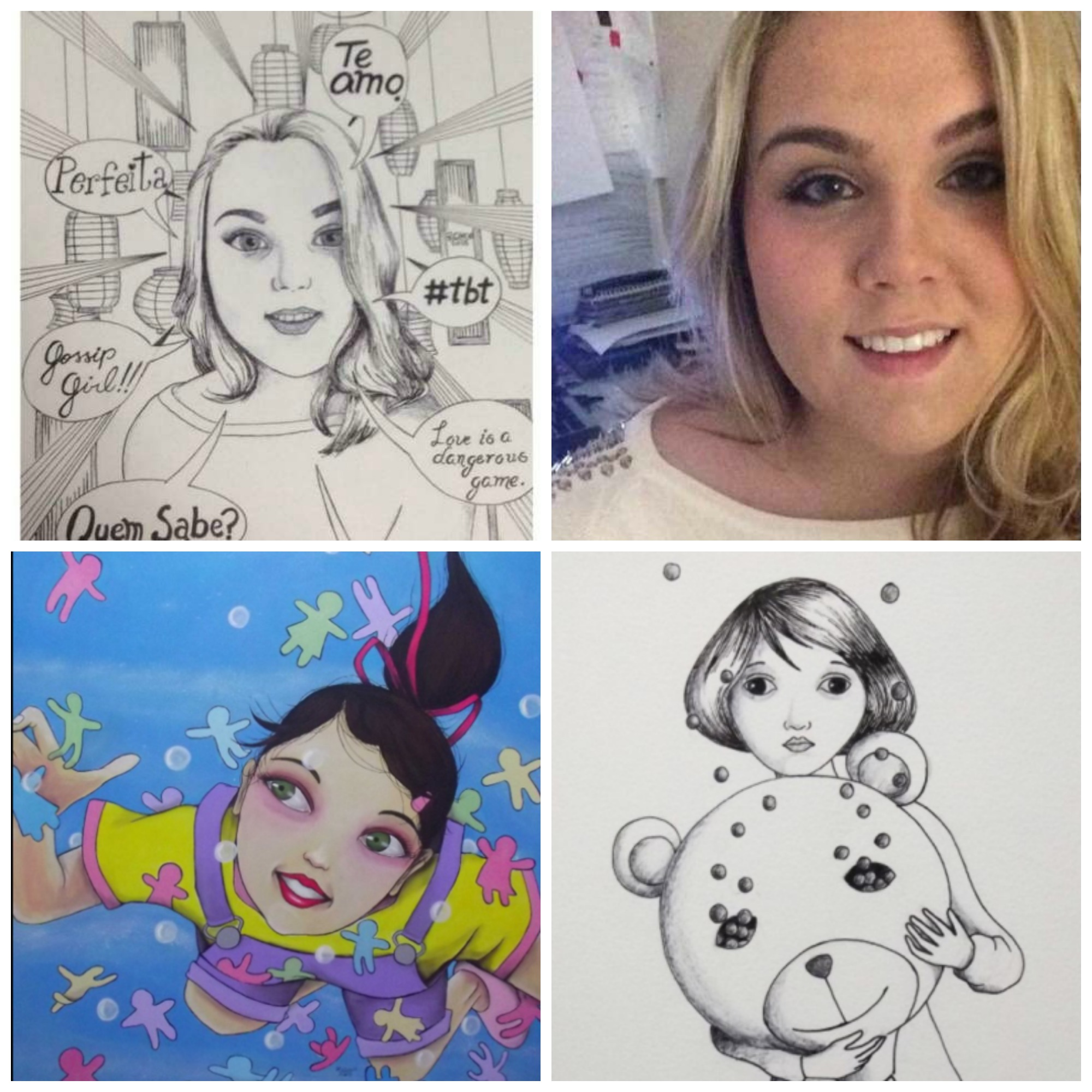 A paulista Kiki Pires de Mello foi retratada, em estilo de mangá, por Robson Clécio, autor, também, dos outros desenhos/ Foto: divulgação
