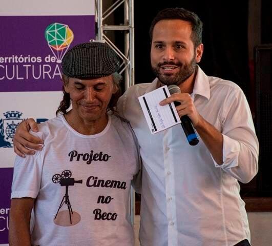 O secretário Marcelo Calero, à direita, e o produtor cultural da Maré, Bhega Silva/ Foto: Douglas Lopes