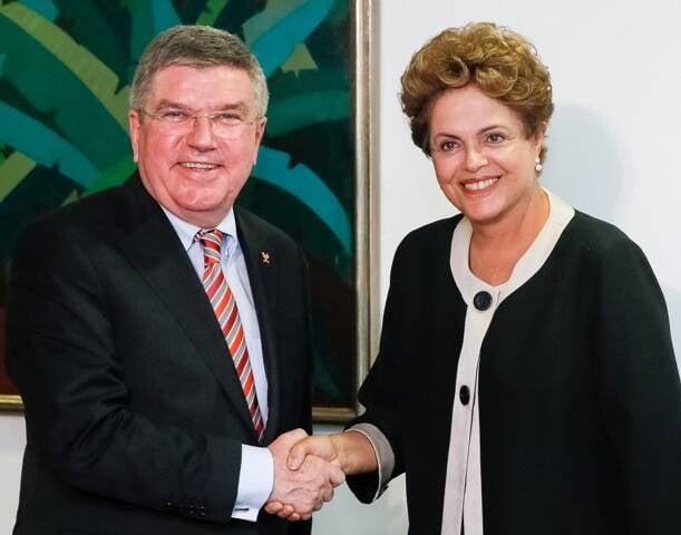 A presidente Dilma recebeu o presidente do COI em Brasília, em fevereiro/ Foto: Roberto Stuckert Filho/PR