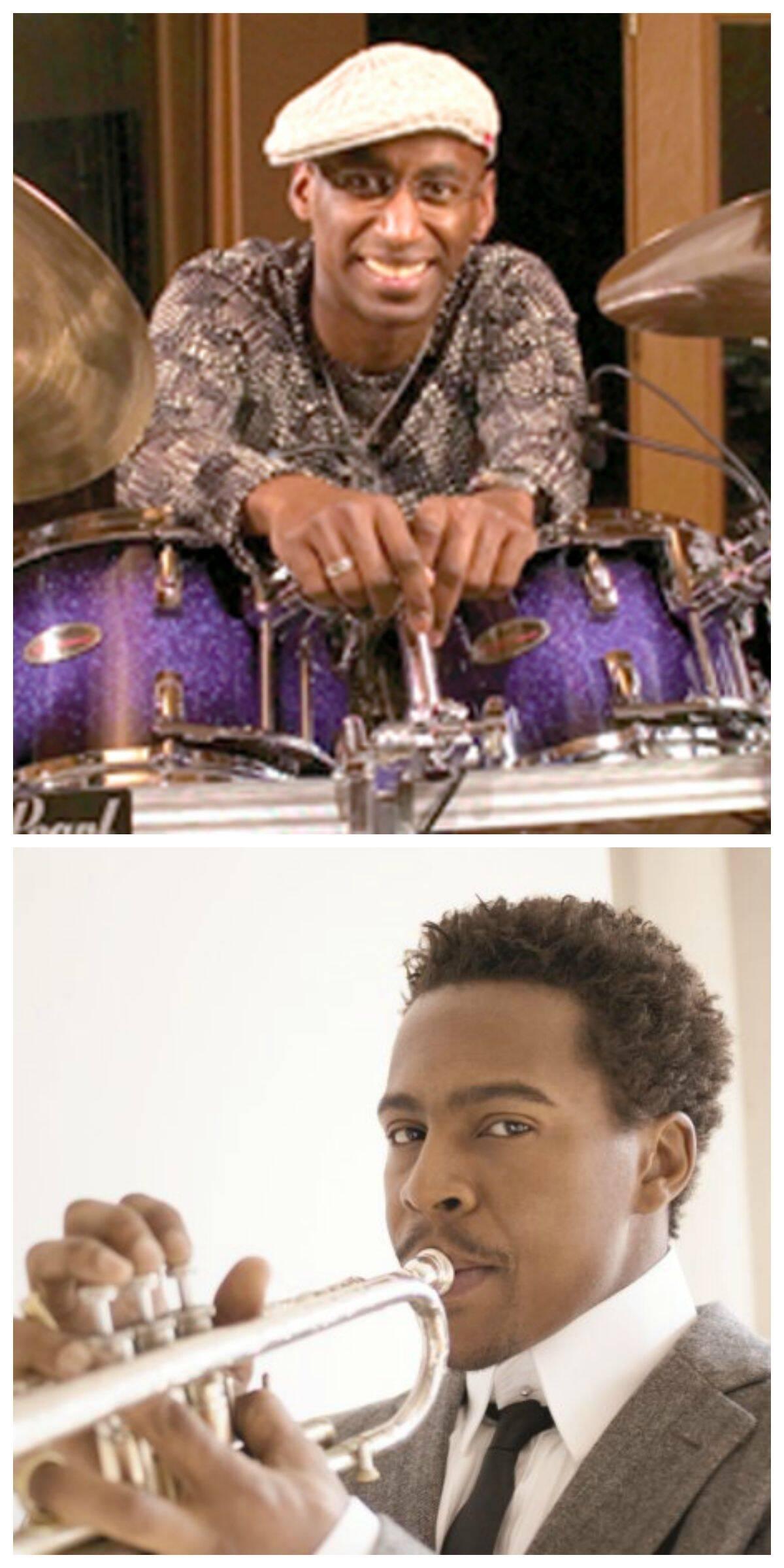 O baterista Omar Karim e o trompetista Roy Hargrove: atrações internacionais confirmadas no Jazz e Blues de Rio das Ostras/ Fotos: divulgação
