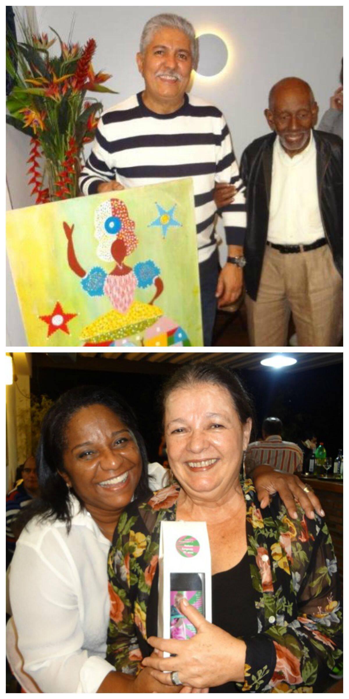 No alto, Carlos Rosa recebe de presente mais um dos quadros de Nelson Sargento; acima, Nilcemar Nogueira, neta de Cartola e Dona Zica e diretora do Centro Cultural Cartola com a atriz Beth Mendes/ Fotos: Rejane Guerra
