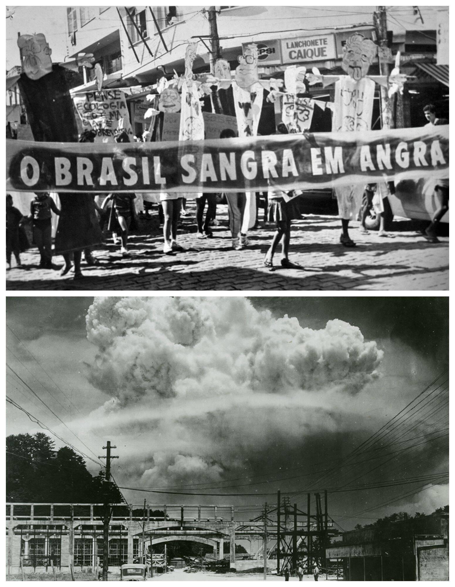 Em cima, foto do Acervo SAPÊ, em Angra dos Reis, na década de 1980; e, embaixo, Hiromichi Matsuda, foto do Museu da Bomba Atômica de Nagasaki, em Nagasaki, Japão, no dia 09 de Agosto de 1945.