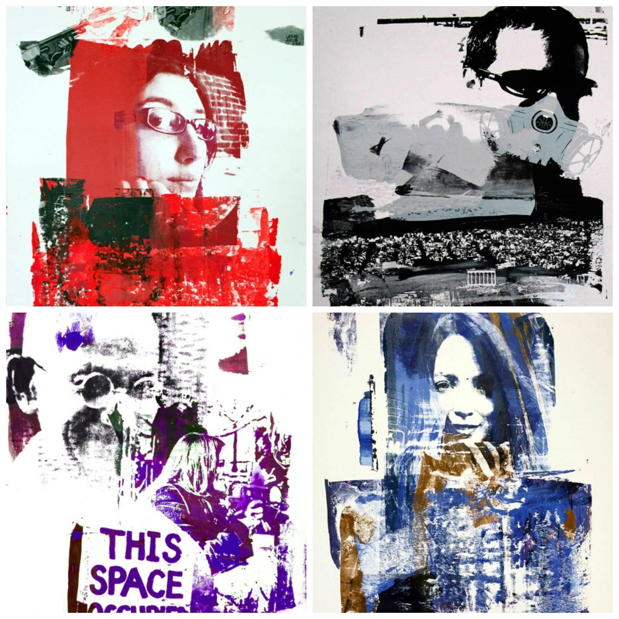 No alto, o artista André De Castro; acima, no sentido horário, telas inspiradas em manifestantes do Brasil, da Grécia, da Turquia e dos EUA/ Fotos: divulgação