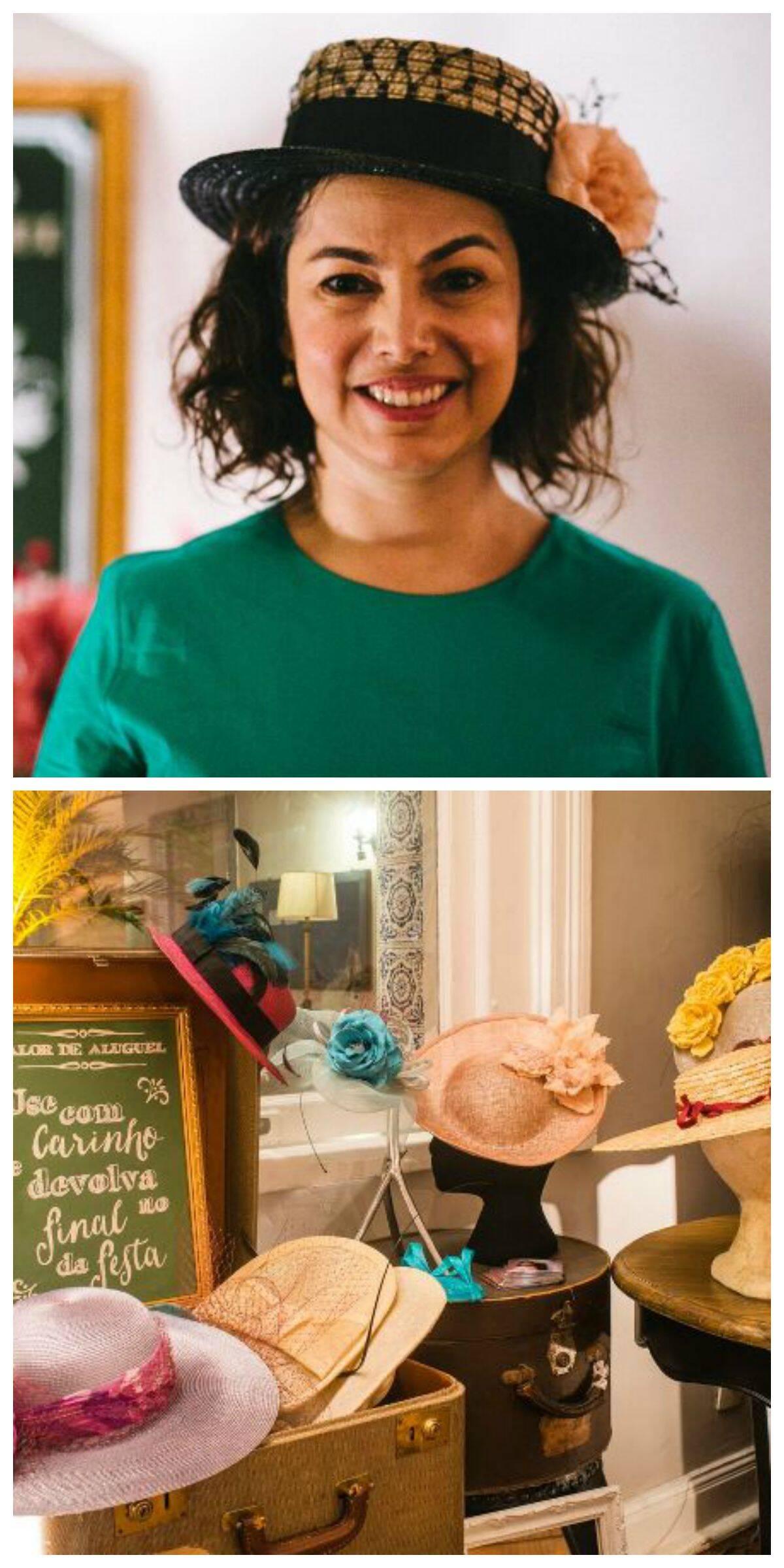 Barbara e sua coleção: para uma festa de 150 convidados ela costuma levar 50 chapéus
