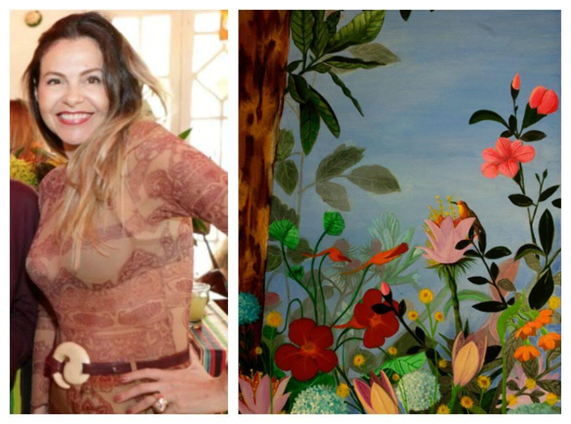 """Yara Figueiredo e o quadro """"Para quem nascem as flores?"""", de Sergio Mauricio/ Fotos: Gianne Carvalho e divulgação"""