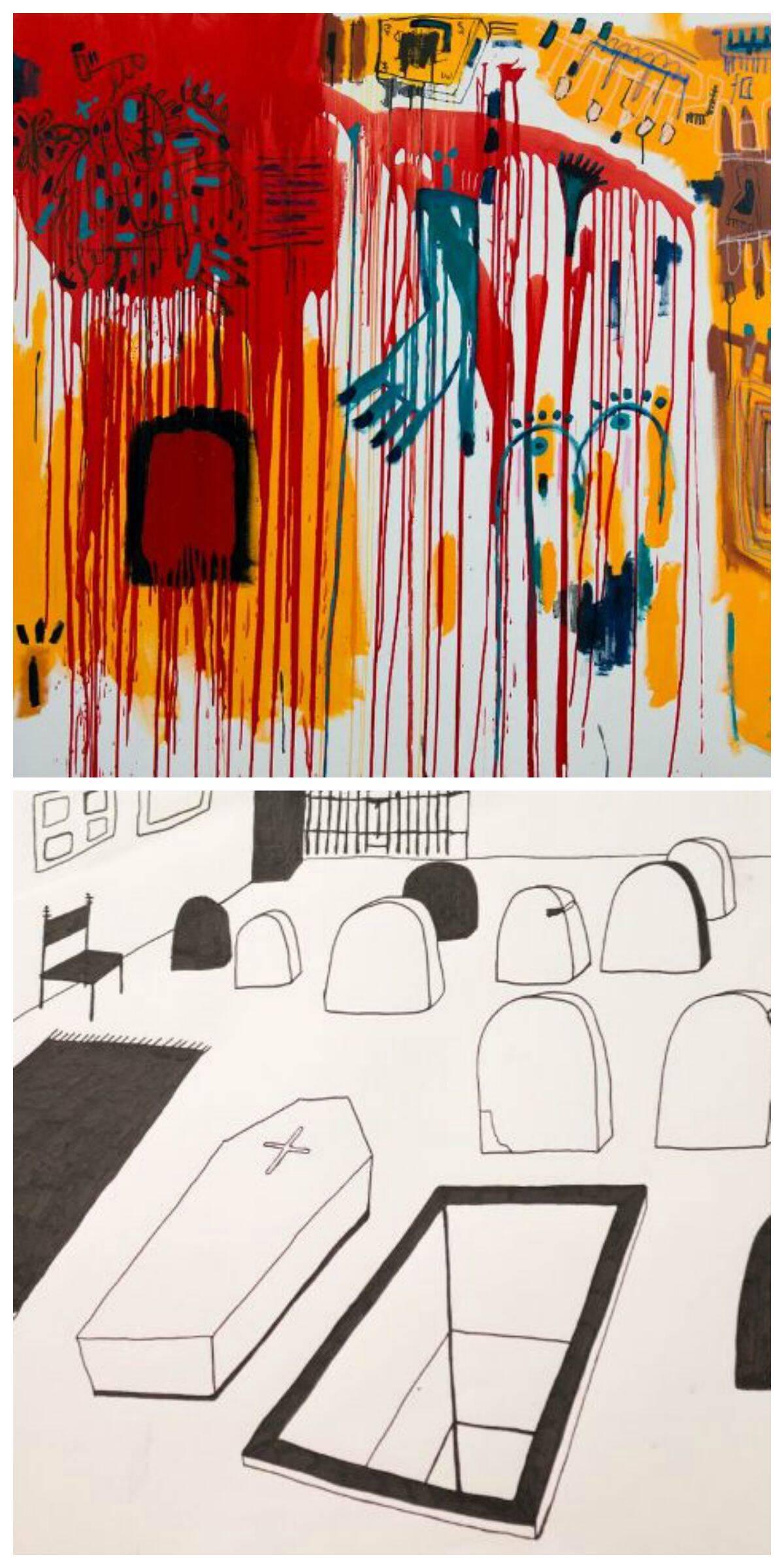 No alto, Eduarda Freire e Caio Paiva; acima, o trabalhos dos dois - o dele é o colorido/ Foto: divulgação
