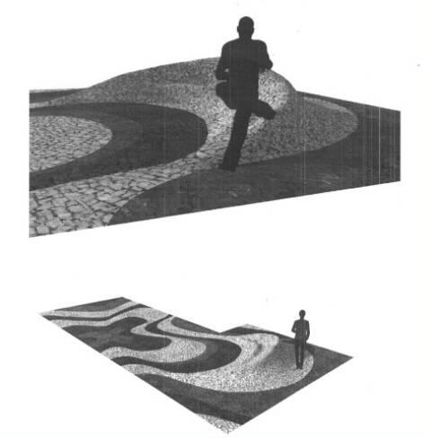 """Projeto da """"Gota D'Água"""", vencedor do Prêmio Tatuagem Urbana: uma """"onda"""" de pedras portuguesas/ Foto: divulgação"""