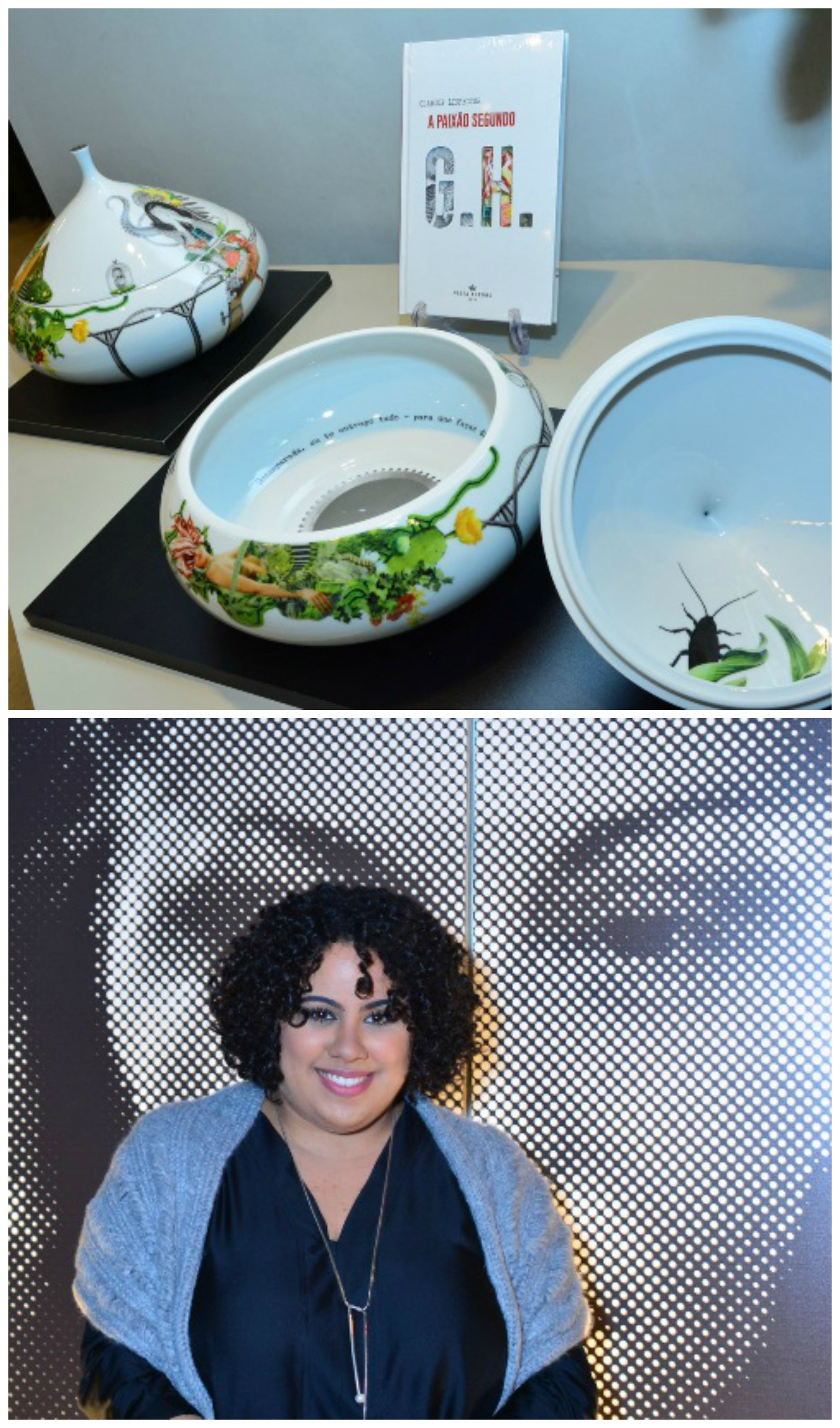 No alto, a coleção de porcelanas em homenagem a Clarice Lispector - a barata está na peça do canto direito; acima, a neta da escritora, Mariana Valente / Fotos: Iara Morselli