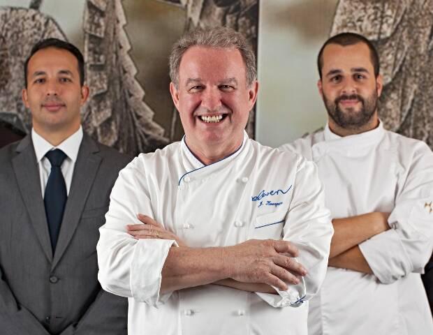 O sommelier Jorge Nunes, o chef Joachim Koerper e o chef português Paulo Lima/ Foto: Rodrigo Azevedo