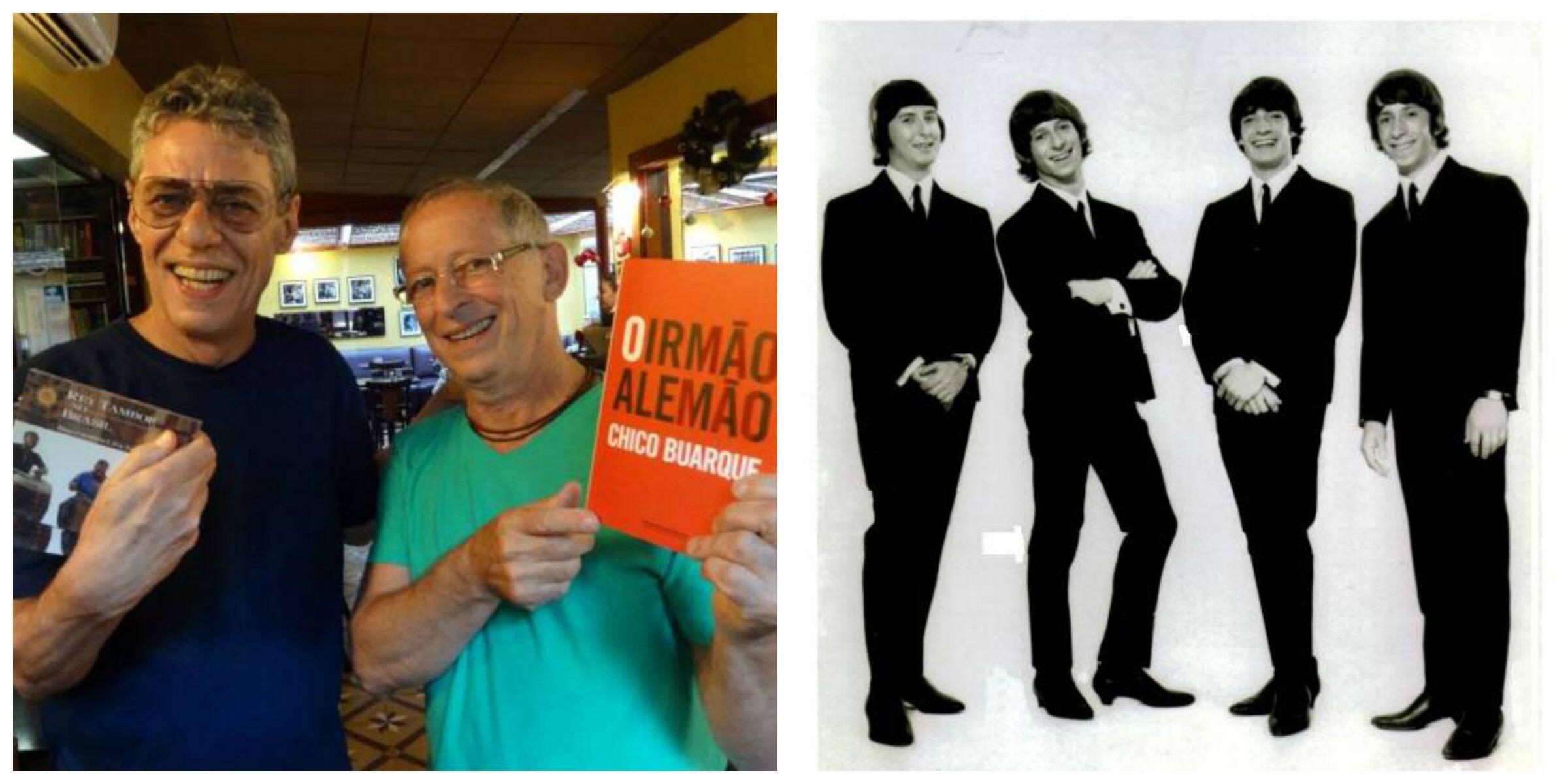 No alto, Chico Buarque relembra uma boa história com Fattoruso e morre de rir; a equipe em gravação com Milton Nascimento; acima, à esquerda, Chico e Fattoruso, em dezembro do ano passado; Hugo Fattoruso é o segundo da esquerda para a direita, no grupo The Shakers, que imitava os Beatles nos anos 60/ Fotos: divulgação