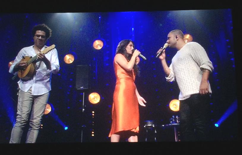 Show de Diogo na turnê europeia: no palco com Hamilton de Holanda e a cantora espanhola Silvia Perez Cruz/ Foto: divulgação