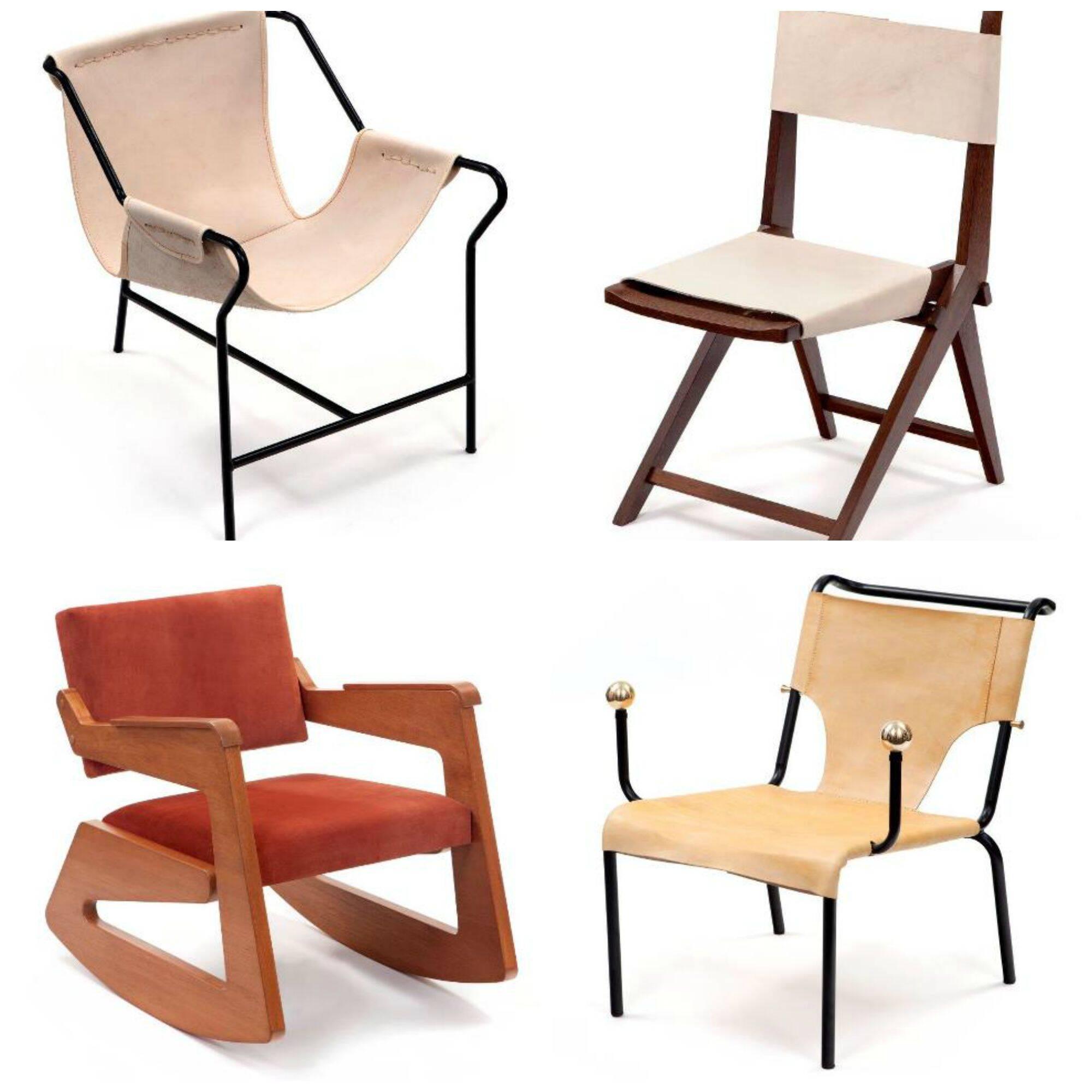 Em sentido horário, a poltrona Três Pés; a cadeira Masp; a cadeira Bolas de Latão; a poltrona de balanço/ Fotos: divulgação
