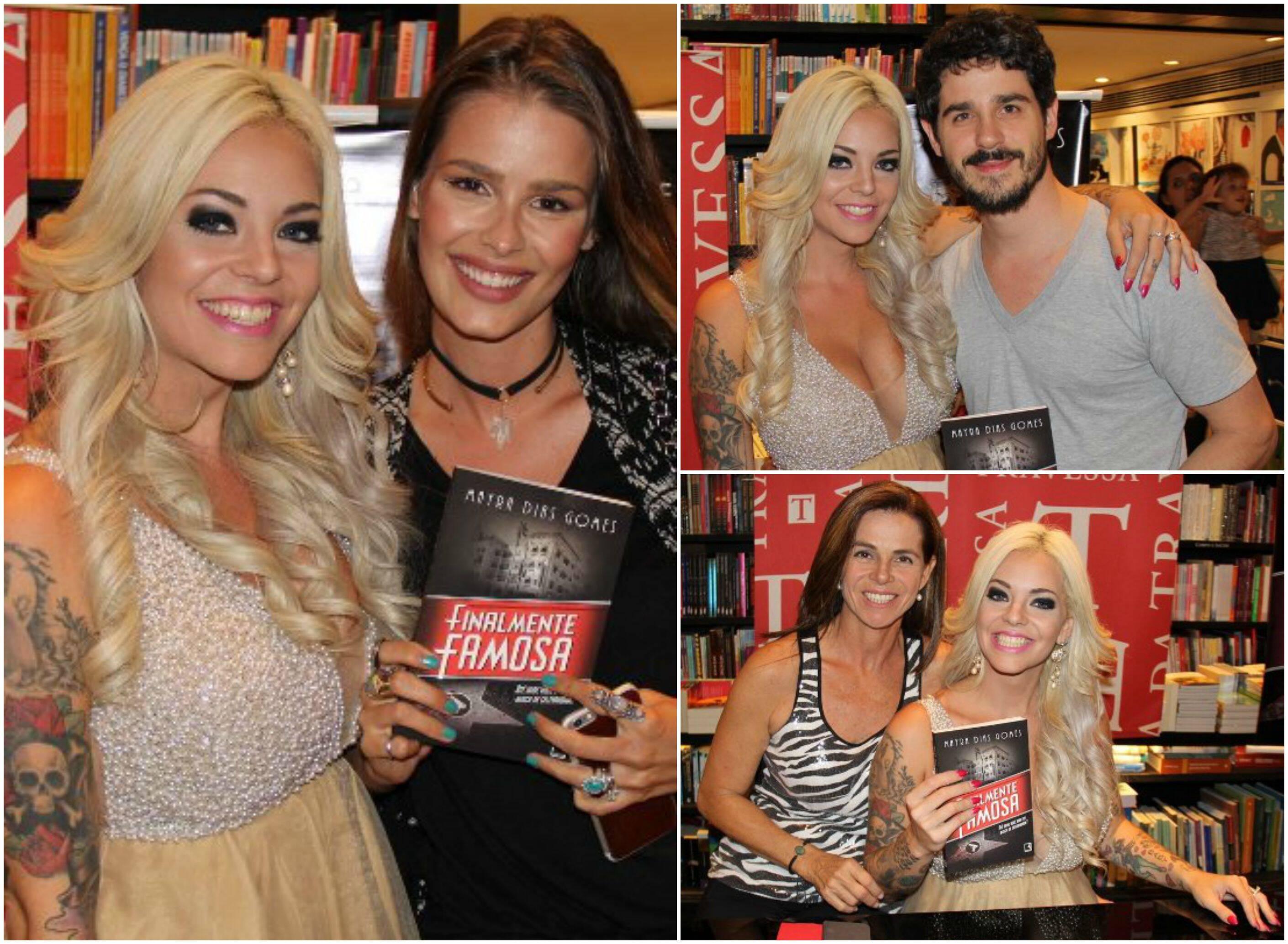 Em sentido horário, Mayra e Yasmin Brunet; a escritora com Pedro Neschling; e com a mãe, Bernadeth Lyzio/ Fotos: Rogério Fidalgo