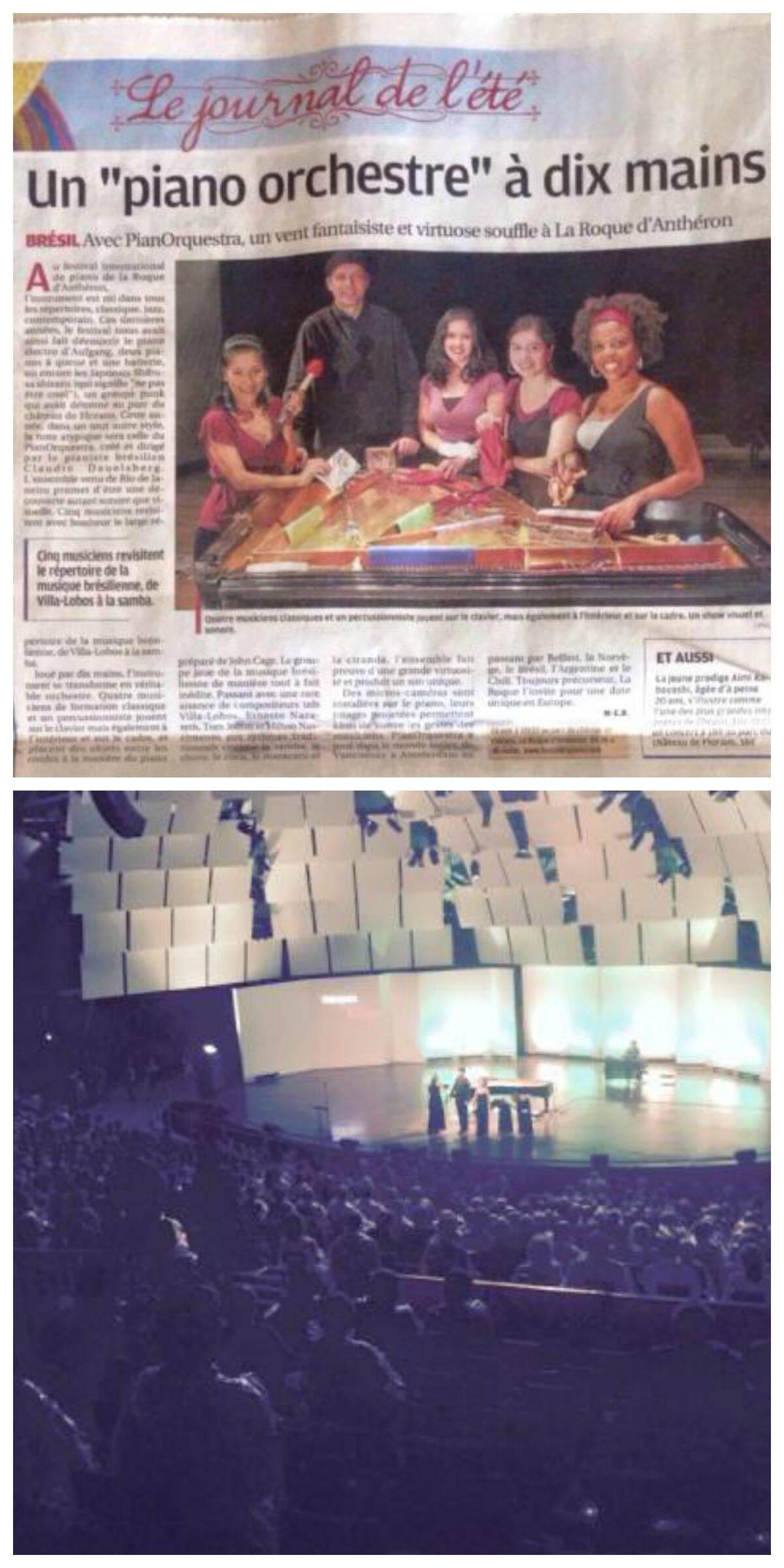 No alto, o grupo foi saudado pelos jornais franceses como um sopro virtuoso e visionário; acima, Claudio e as pianistas agradecem à plateia lotada/ Fotos: divulgação
