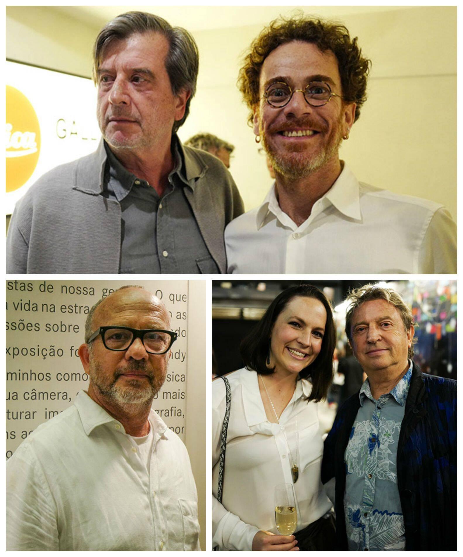 No sentido horário: Márcio Scavone e Nando Reis; Helen Todd e Andy Summers; Bob Wolfenson / Fotos:  Leica Gallery SP/Divulgação