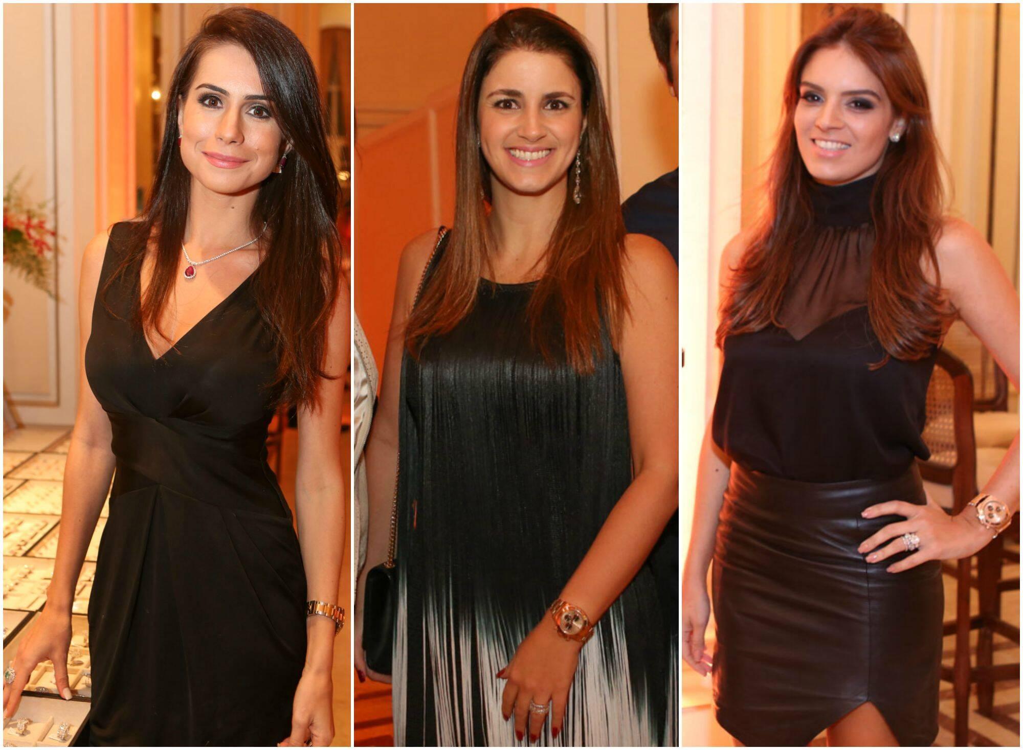 As convidadas Natalia Schneider, Renata Picciani e Renata Suassuna, com relógios de ouro / Fotos: Gianne Carvalho
