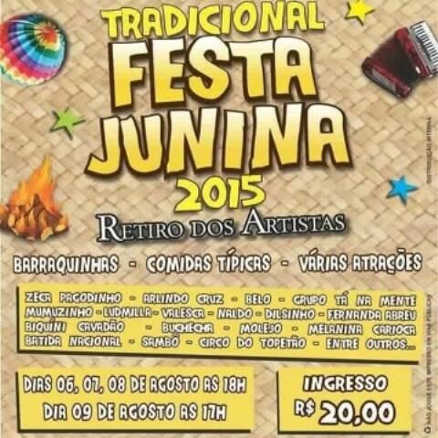 Programação musical do Retiro: artistas de todos os gêneros vão se apresentar na festa junina, até domingo/ Foto: divulgação