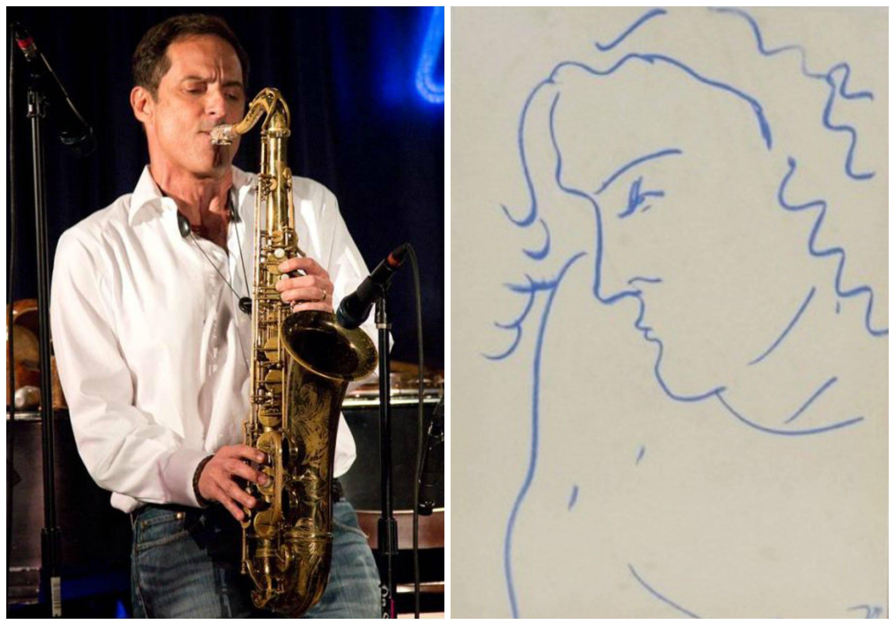 O músico Zé Luiz Oliveira e  o desenho inspirado nele, feito por Jorge Guinle: do acervo de Pedro Duque para o Museu Oscar Niemeyer