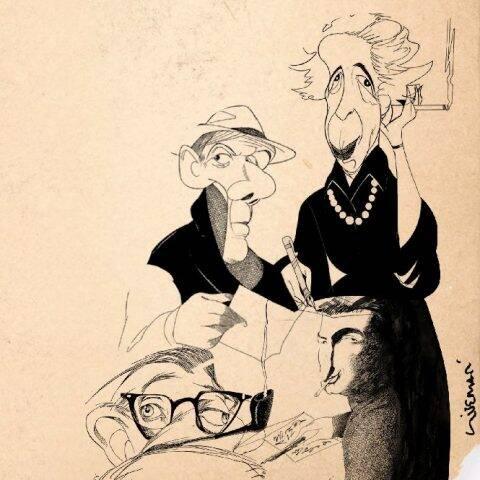 Roland Barthes, Jean-Paul Sartre, Gilles Deleuze e Hannah Arendt no traço de Bruno Liberati / Foto: divulgação