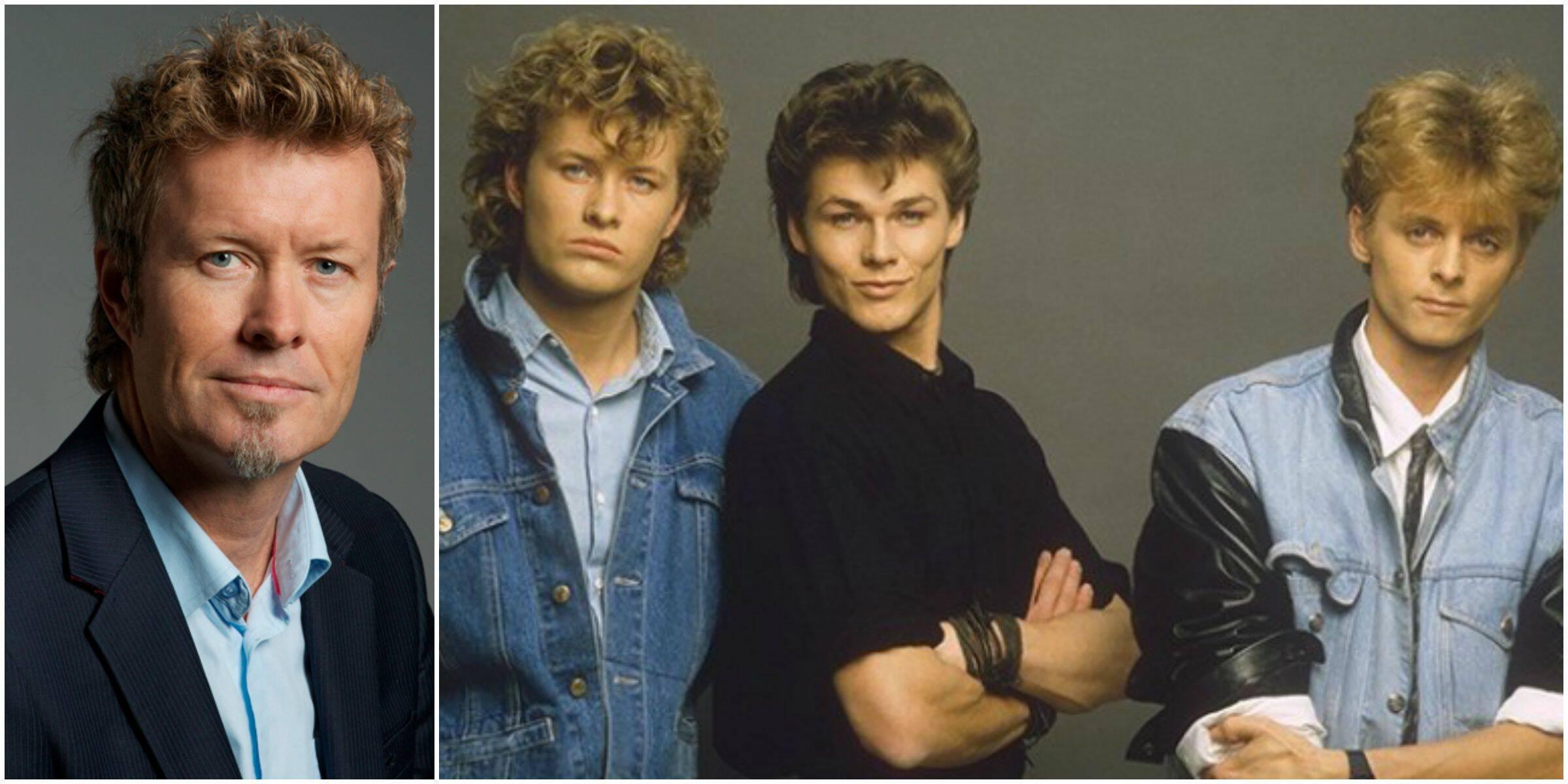 À esquerda, Magne, atualmente com 52 anos, e com os integrantes do A-ha, nos anos 80 - ele é o primeiro à esquerda / Foto: reprodução da internet