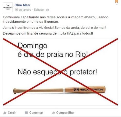 A postagem que envolve o nome da marca Blue Man, de moda praia, é contra os princípios da empresa / Foto: reprodução do Facebook
