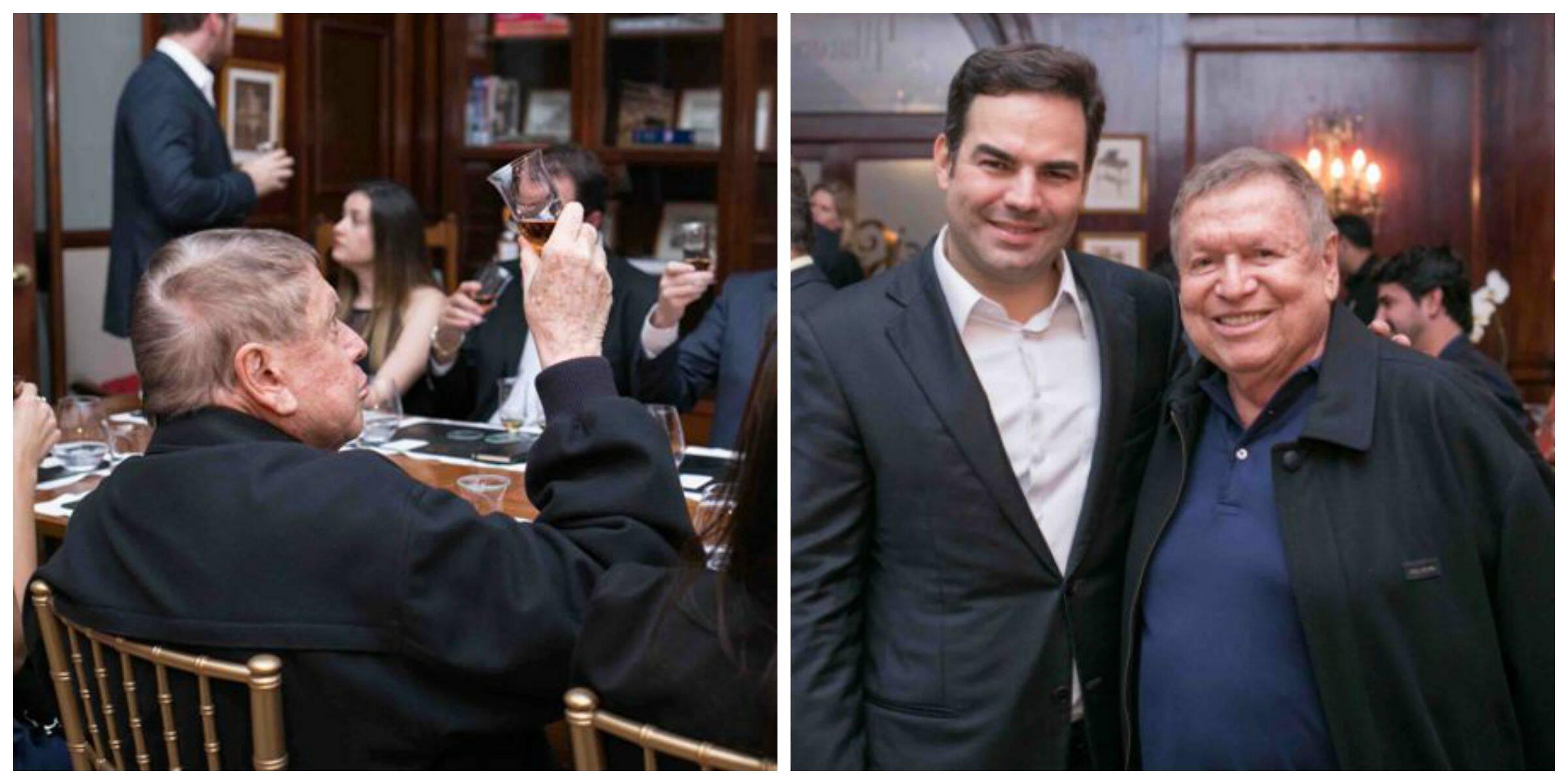 No alto, Gianpaolo Morselli  apresenta a bebida; acima, Boni em dois momentos: apreciando a cor do uísque e com Rogério Andrade / Fotos: divulgação