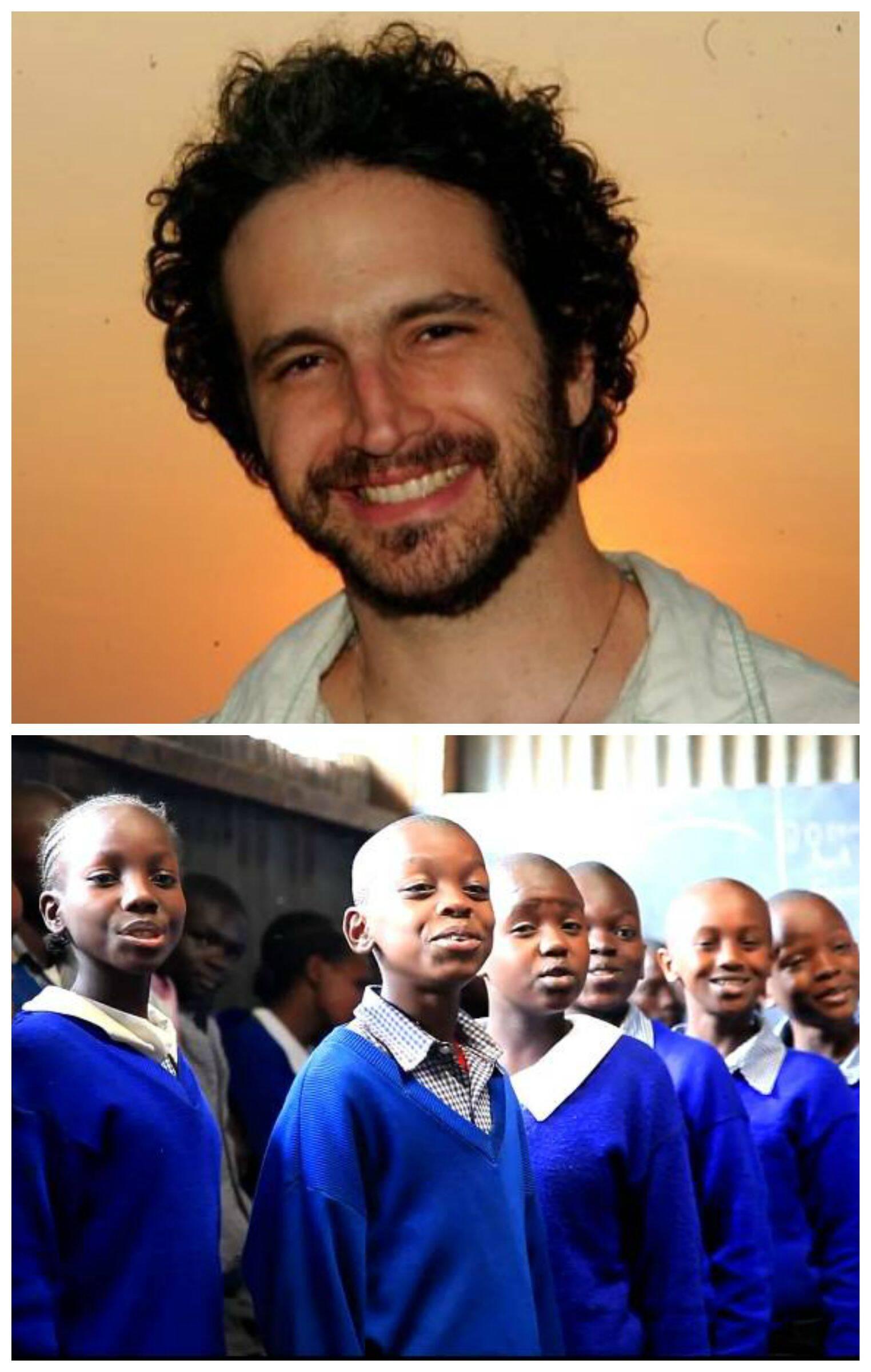 Caco Ciocler, no alto, e as crianças do coral da escola africana Gatoto, no Quênia / Foto: reprodução da internet