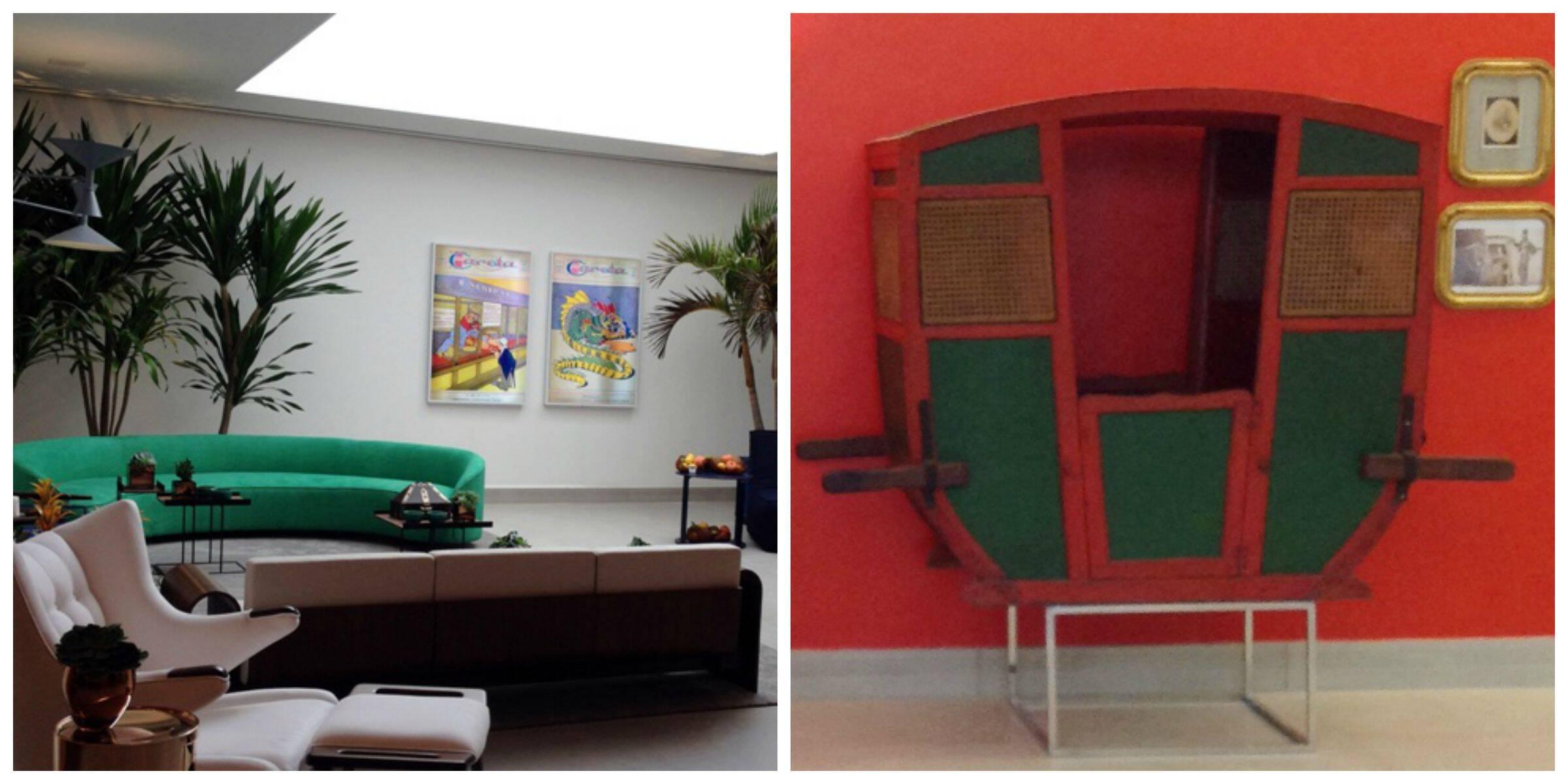 No alto, o anúncio da Pasta Russa; acima, à esquerda, vista geral do foyer, com claraboia de sete metros; ao lado, a liteira de família / Fotos: divulgação