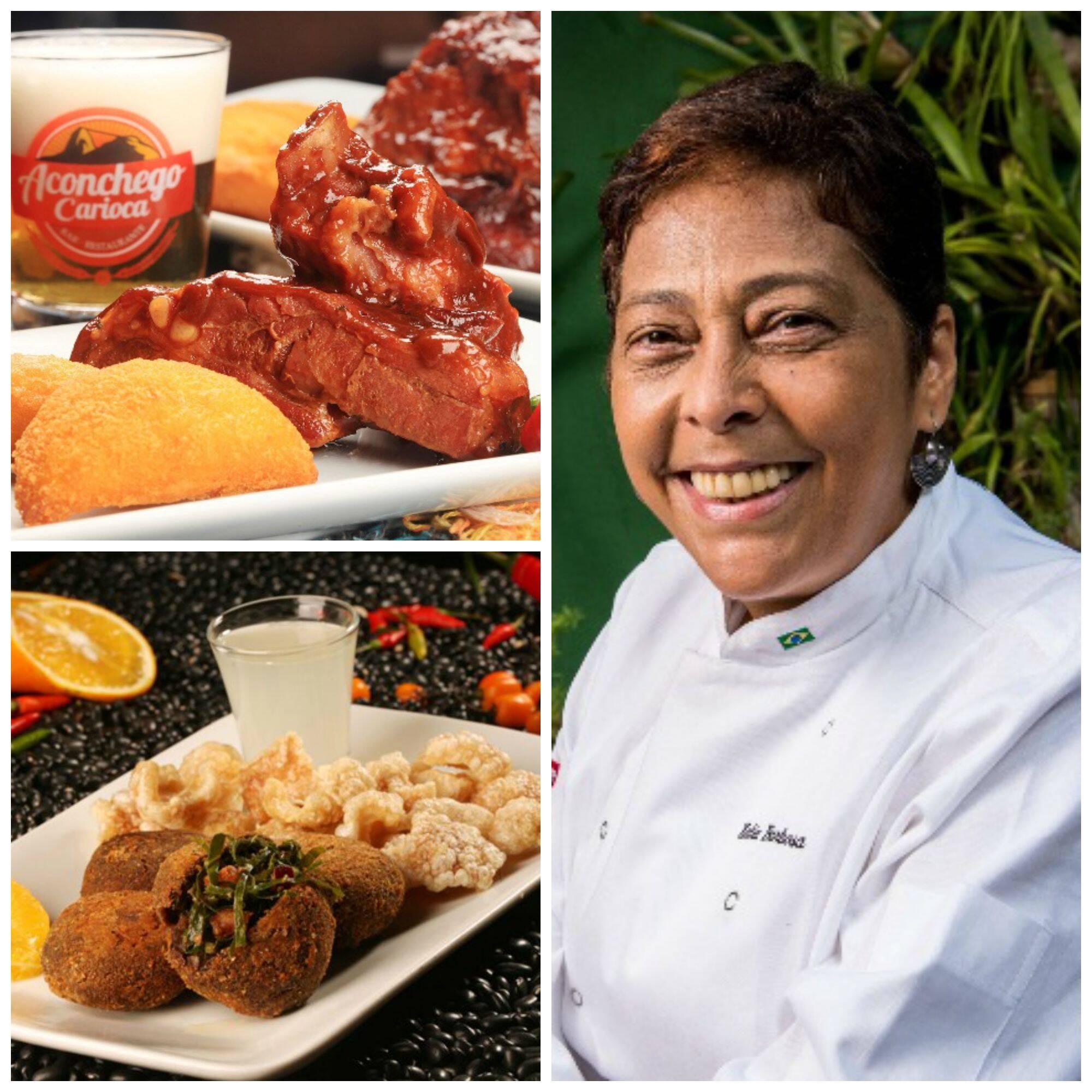 À esquerda, no alto, costelinha de porco com goiabanda e, abaixo, o bolinho de feijoada, dois pratos famosos do Aconchego da Zona Norte, da chef Kátia Barbosa (à direita) / Fotos: divulgação