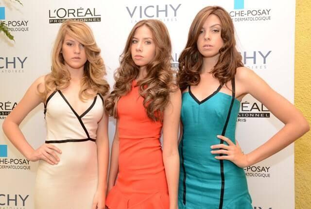 No alto, Fernando Torquatto, Vanessa Metz e Luísa Schroder; acima, as modelos com os cabelos na nova coloração / Fotos: Lu Tancredo