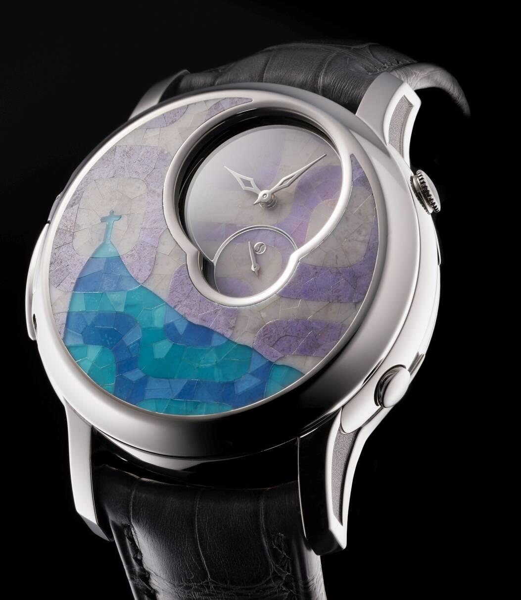 No alto, os autores do relógio em homenagem ao Rio, Kakay Köpfe e Romain Gauthier; o comprador do relógio vai ganhar a tela em acrílico que serviu de inspiração para sua criação