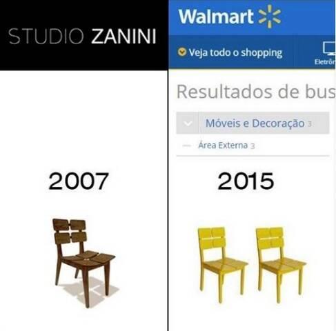 """A cadeira de Zanini de Zanine, á esquerda, e sua """"interpretação"""" no site do Walmart / Reprodução da internet"""