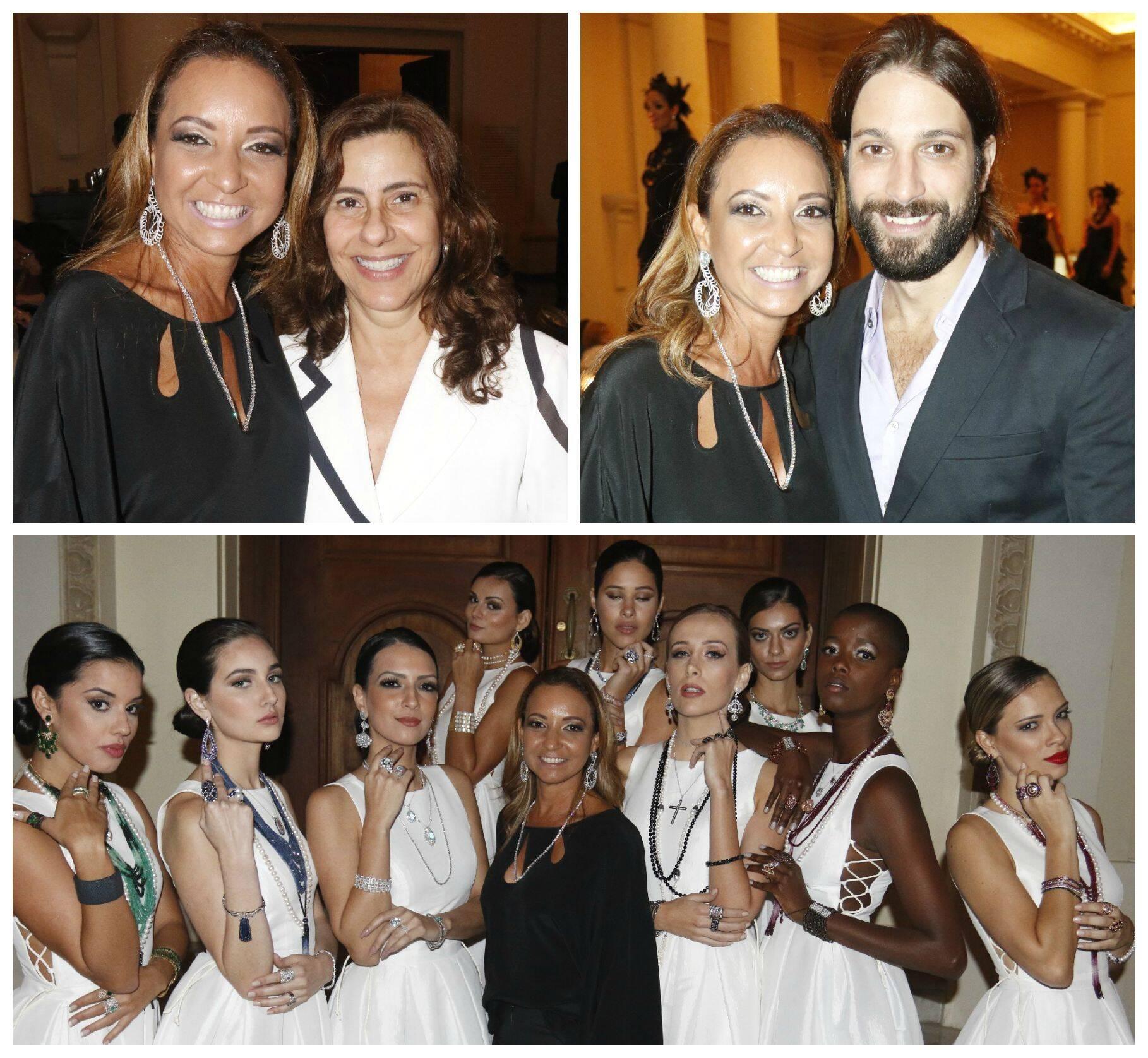 Adriana Mota e Alice Tamborindeguy; Adriana Mota e Marco Antonio Gimenez; Adriana Mota com as modelos / Fotos: divulgação