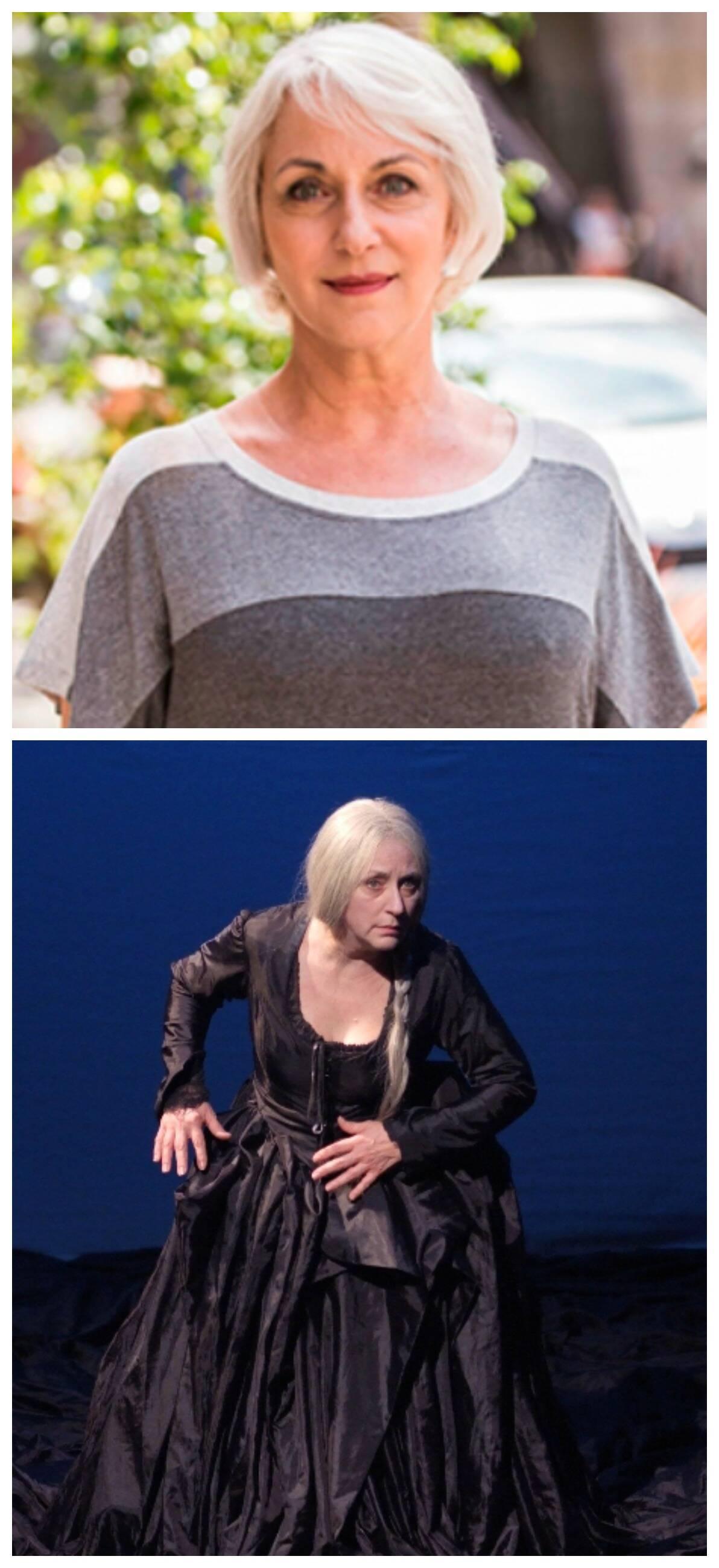 Lu Grimaldi, no alto, como a Olga da novela Babilônia e, acima, interpretando D. Maria I / Fotos: divulgação