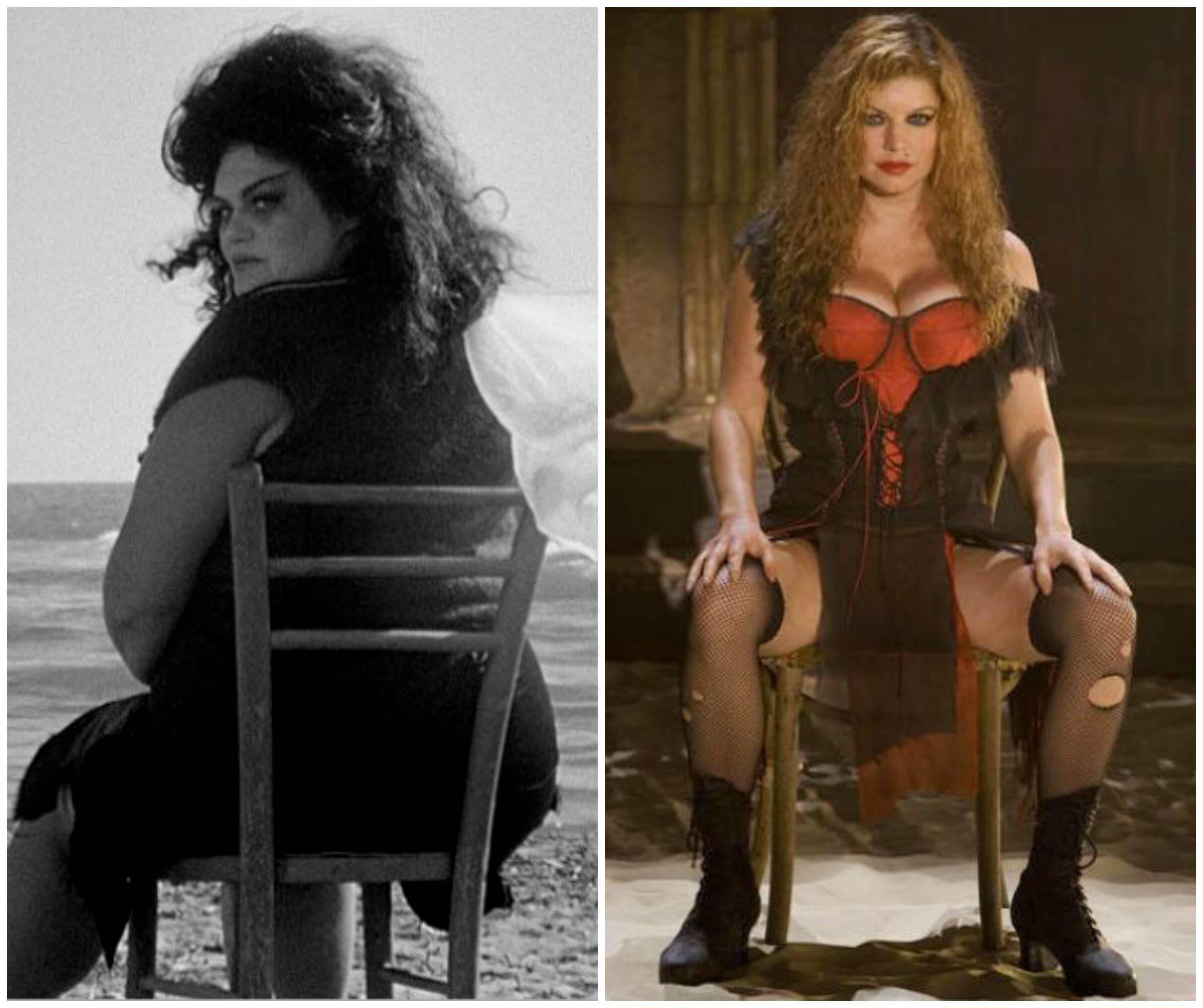 Myra Ruiz, no alto, na versão de Nine por Möeller e Botelho; à esquerda, acima, a atriz escolhida por Fellini, Eddra Gale; ao lado, a cantora Fergie na versão para o cinema de Rob Marshall / Fotos: divulgação e reprodução da internet