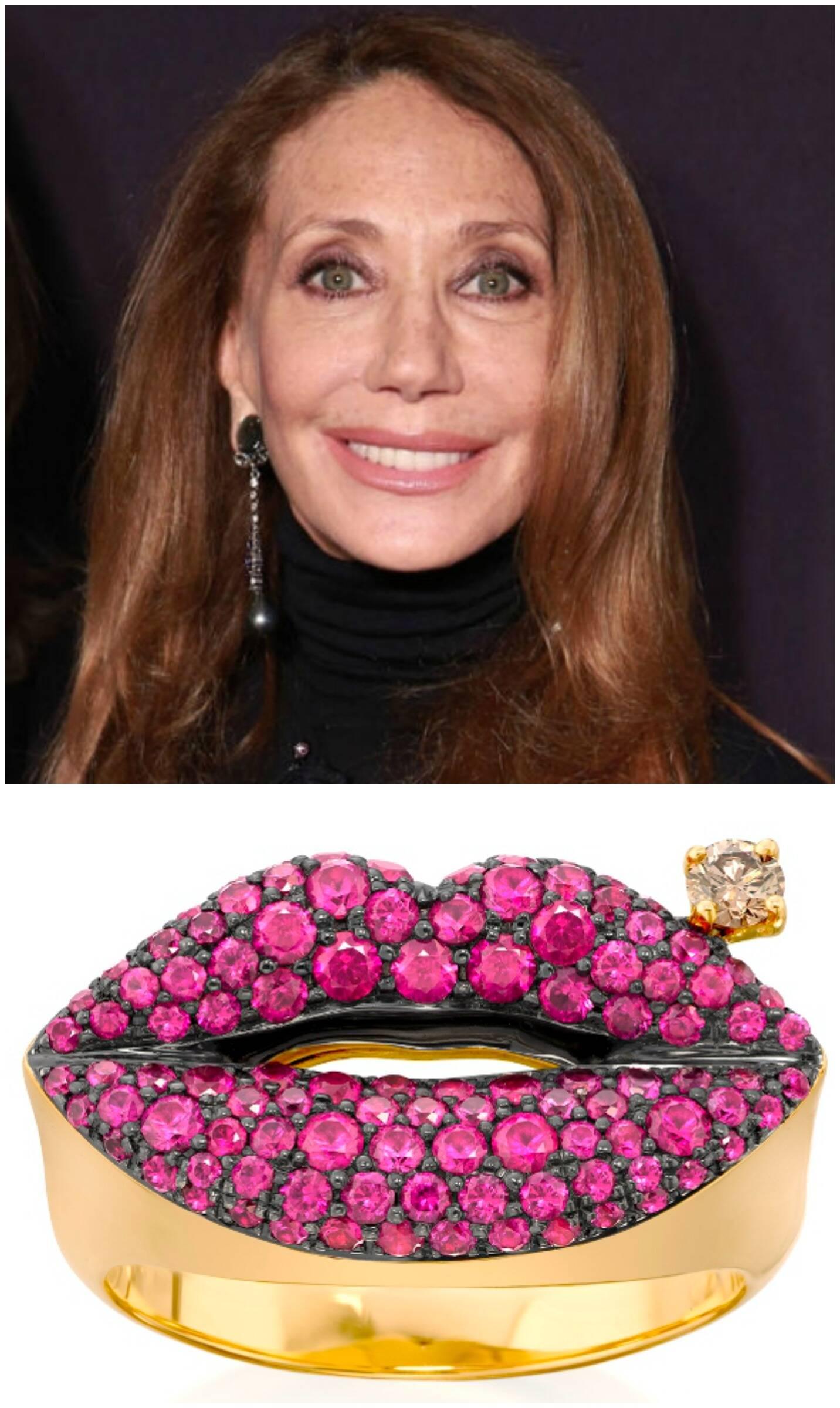 No alto, Marisa Berenson,  quando era super modelo nos anos 70; acima, em imagem recente  e mais o anel em formato de boca da coleção da Amsterdam & Sauer / Fotos: reprodução da internet e divulgação