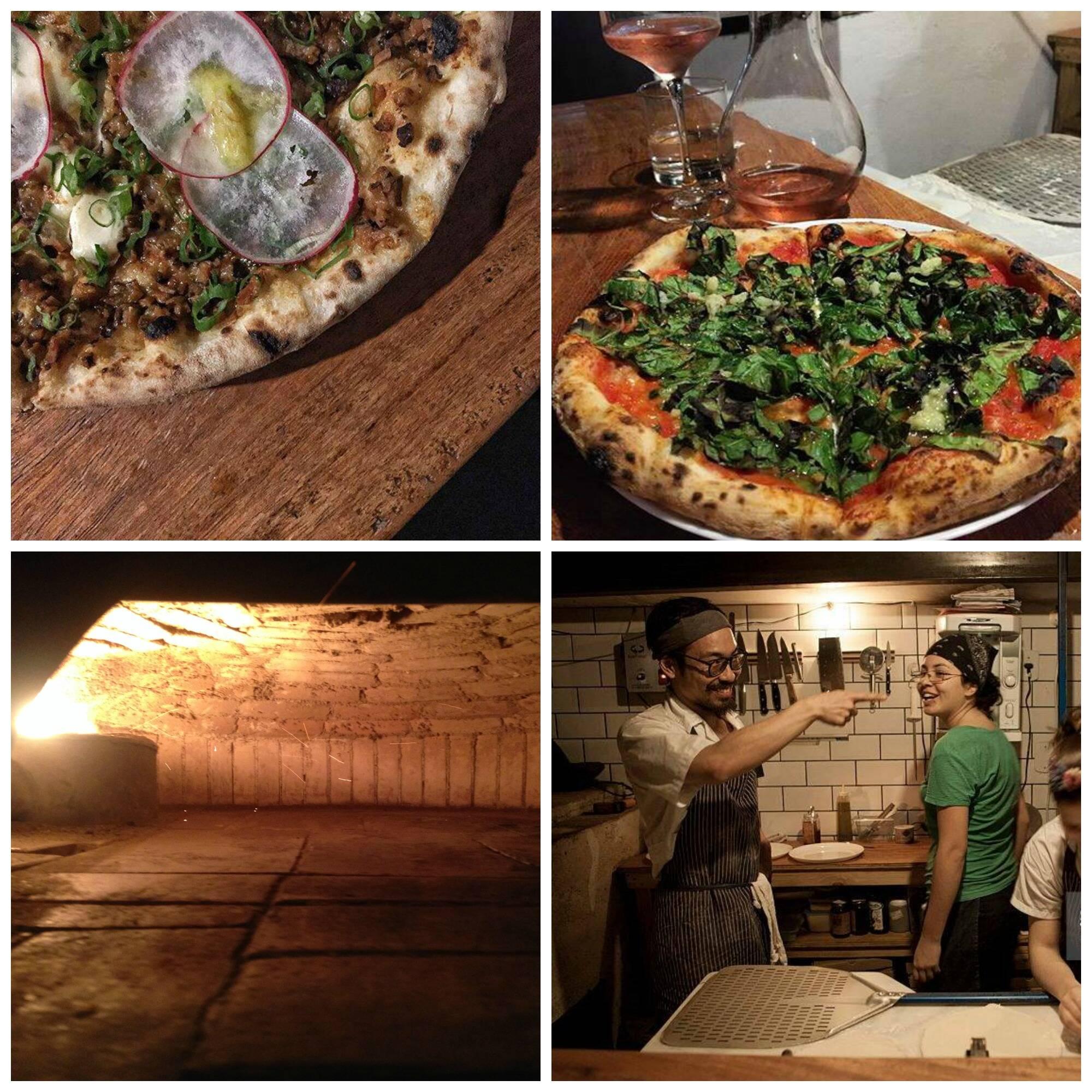 No sentido horário: pizza feia de Shiitake cozido num caldo de shoyu, tomates e anis estrela, temperado com feijão fermentado e missô; pizza feita com folhas de couve marinada em shoyu e gengibre, alho confit, e mel picante; os chefs da pizzaria; fotos do interior do forno/Fotos: reprodução do facebook