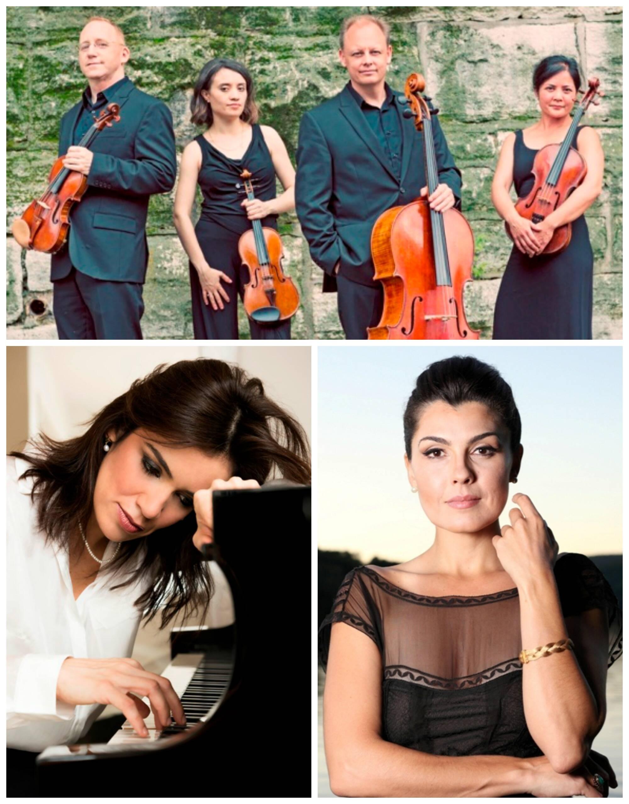 No alto, o Quarteto de Cordas Arianna; à esquerda, a pianista Simone Leitão; à direita, a cantora lírica Angelica De La Riva / Fotos: divulgação
