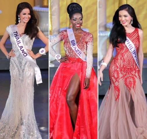 A candidata do Brasil, Valesca, entre a miss da Tailândia, terceiro lugar. e a grande vencedora, à direita, das Filipinas / Foto: reprodução da internet