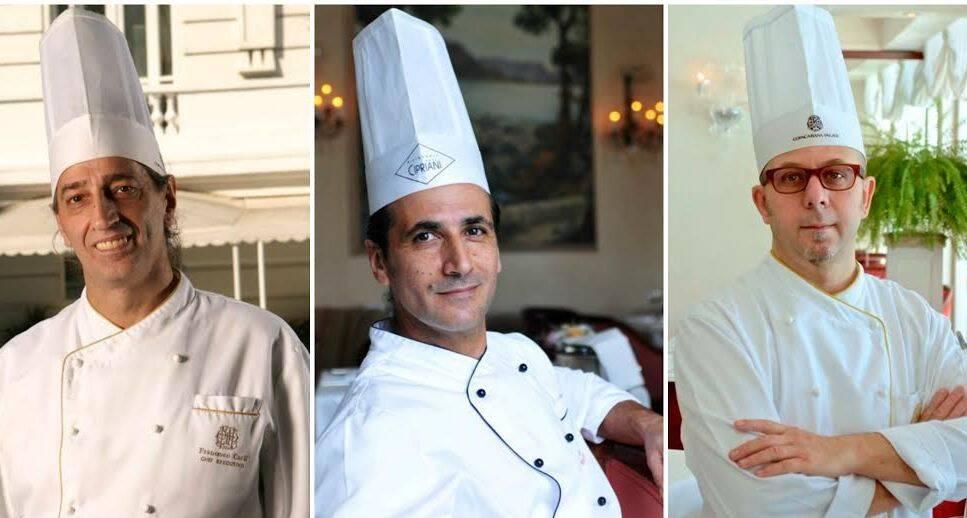 Francesco Carli, Nicola Finamore e Luca Orini: chefs que, ao longo dos anos, vêm fazendo fama no italiano do Copacabana Palace, assinam jantar nos dias 11, 12 e 13 de novembro / Fotos: divulgação