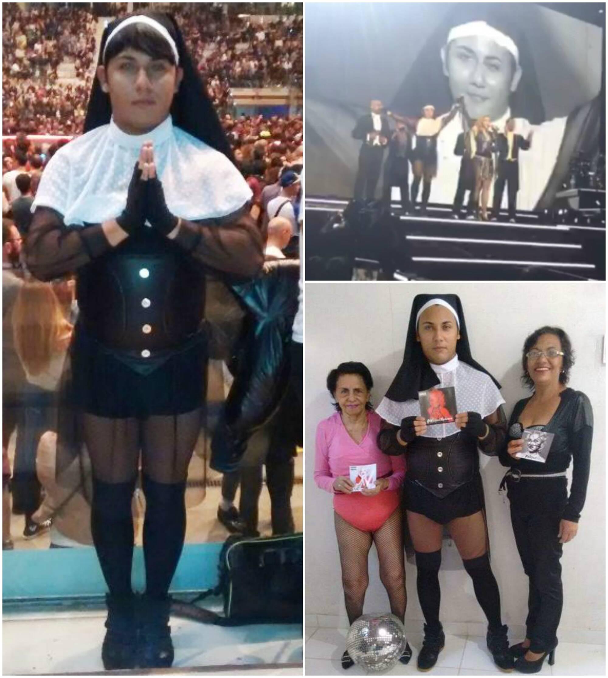 Em sentido horário, Madoninho antes do show começar em Turim; no palco com Madonna; a foto com sua avó e com sua mãe, com que ele foi vítima de bullyng nas redes sociais / Fotos: reprodução da internet e whatsapp