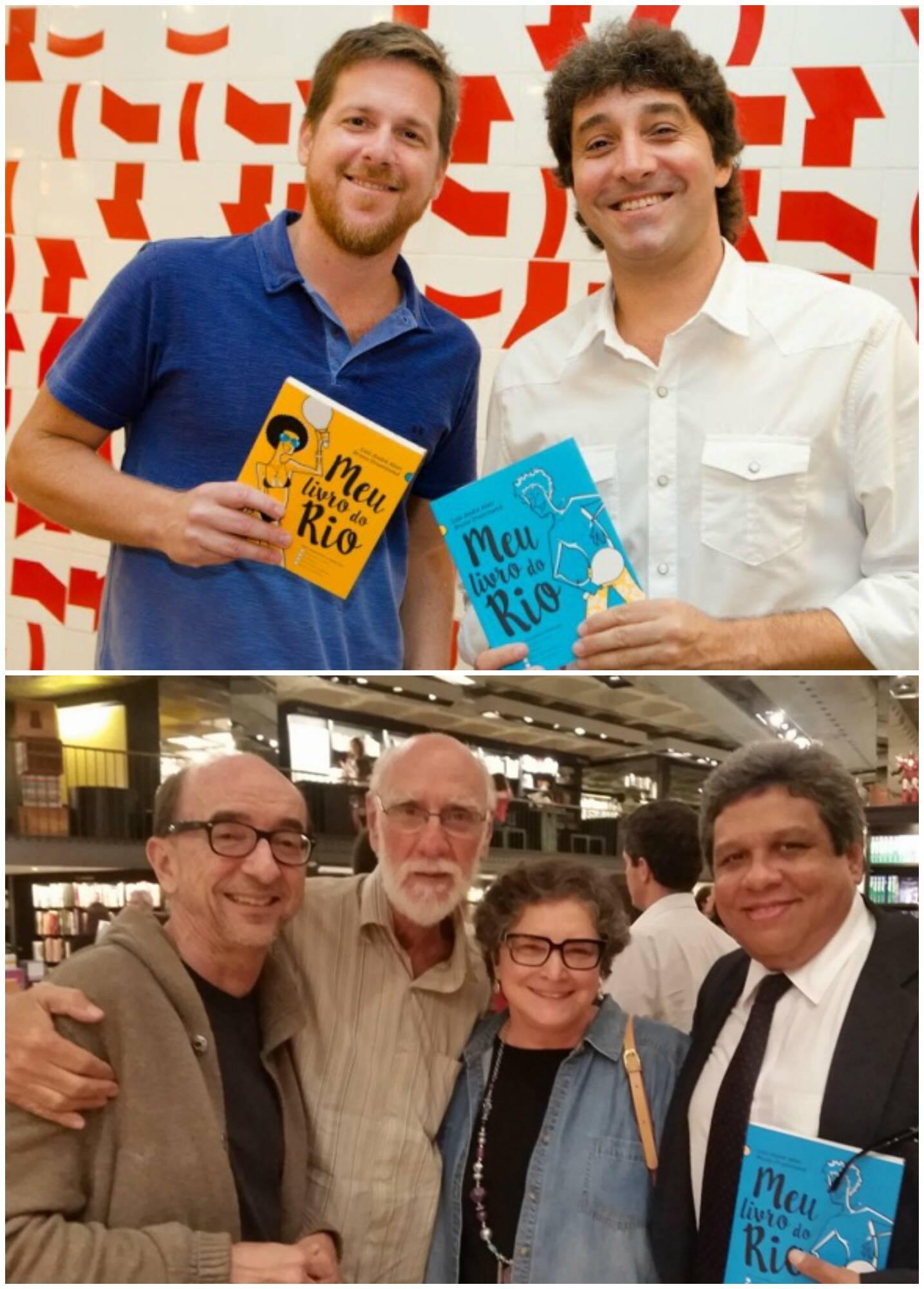 No alto, os autores Luiz André Alzer e Brunno Drummond; acima, Joaquim Ferreira dos Santos, Luiz Roberto Tenório, Cora Ronai e Jorge Antonio Barros / Foto: divulgação