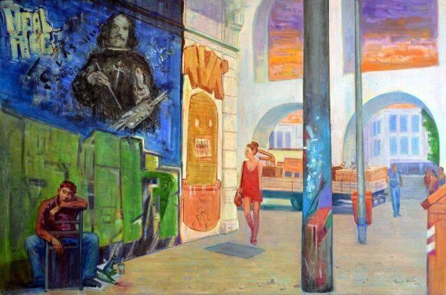 Duas visões do Rio: no alto, tela de Mariana Revelles e, acima, quadro de Ricardo Newton, retratando uma cena da Lapa / Fotos: divulgação