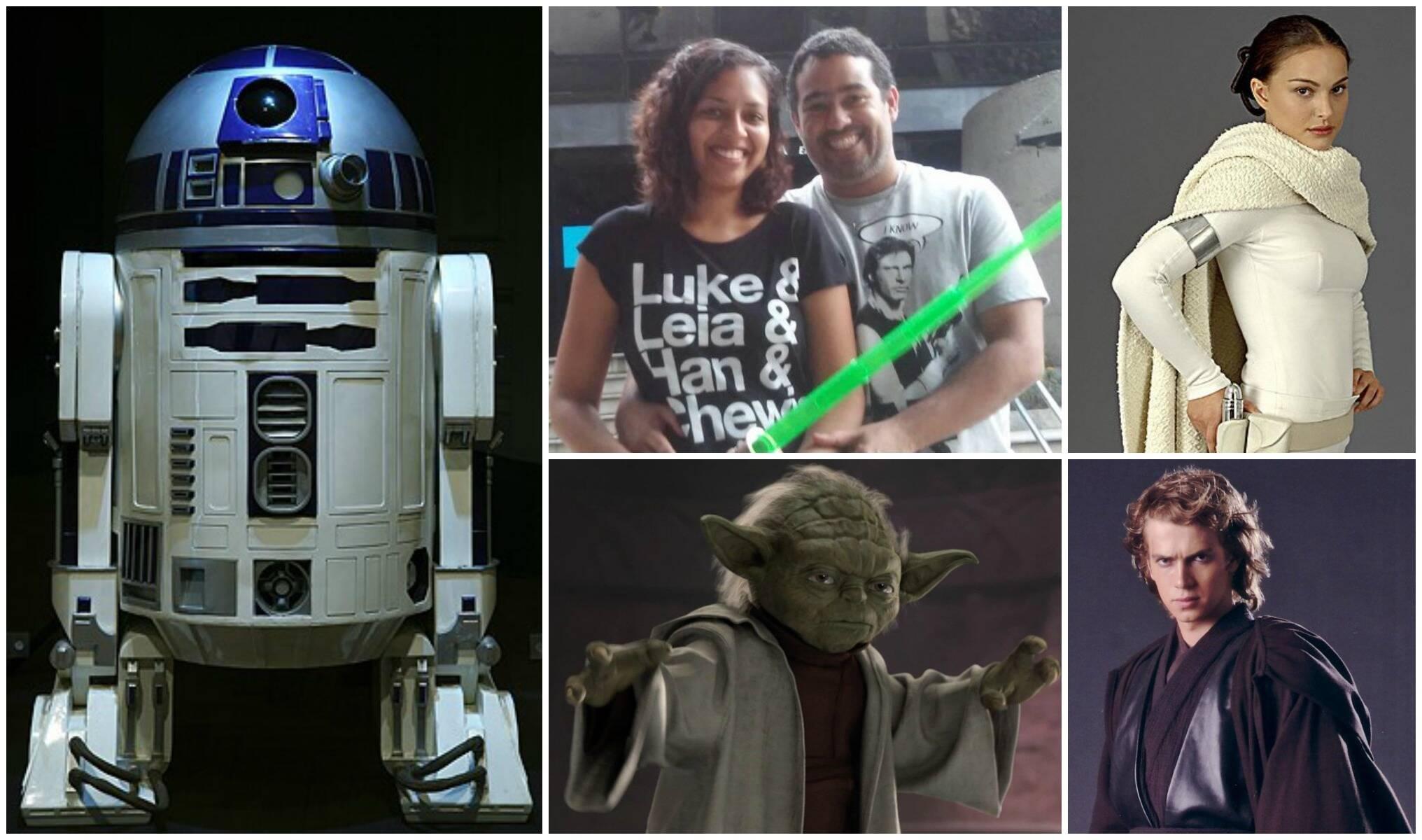 Em sentido horário, o robô R2D2, inspiração para o bolo; o casal Vívian e Francisco; a rainha Padmé Amidala; Anakin Skywalker; o mestre Yoda / Fotos: divulgação e reprodução da internet