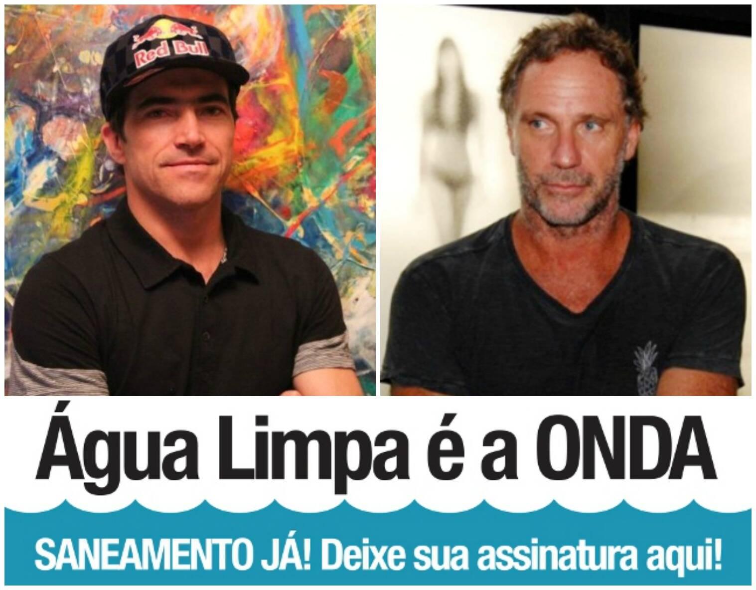 Oskar Metsavaht, à direita, e o surfista Carlos Burle encabeçam o movimento pela despoluição das praias cariocas / Fotos: IG e divulgação
